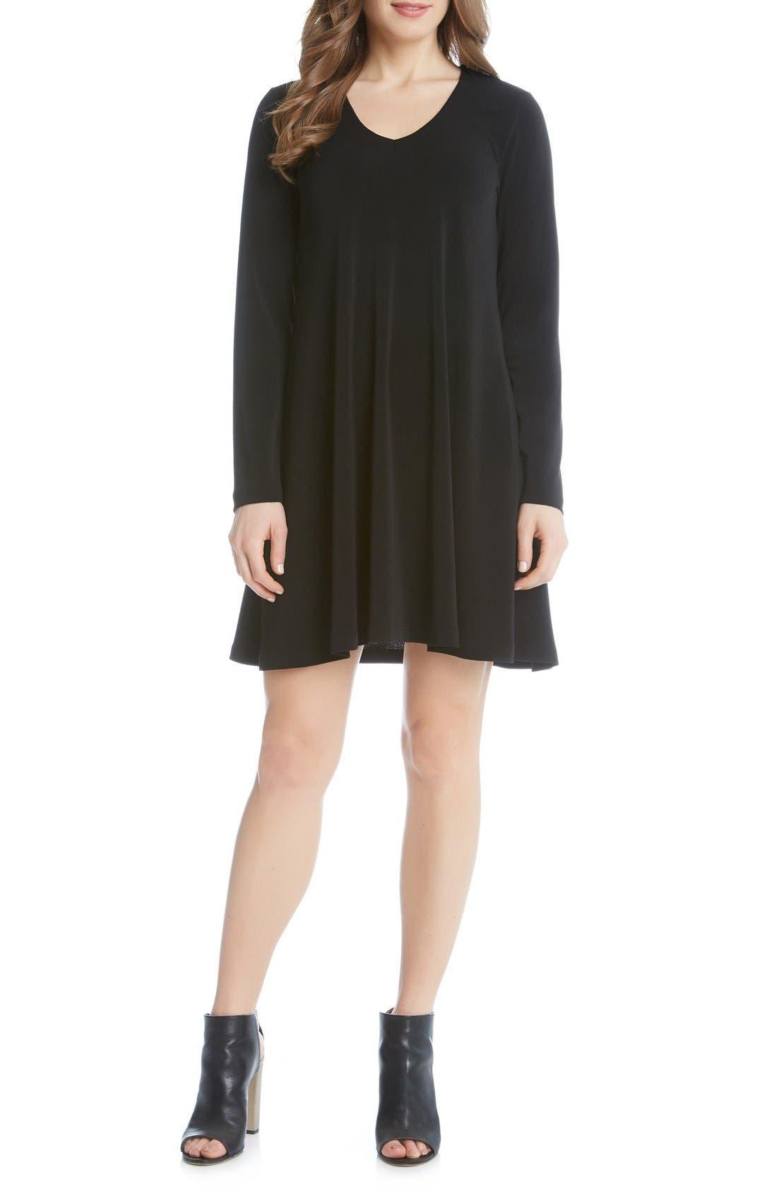 'Taylor' Long Sleeve A-Line Dress,                             Alternate thumbnail 3, color,                             001