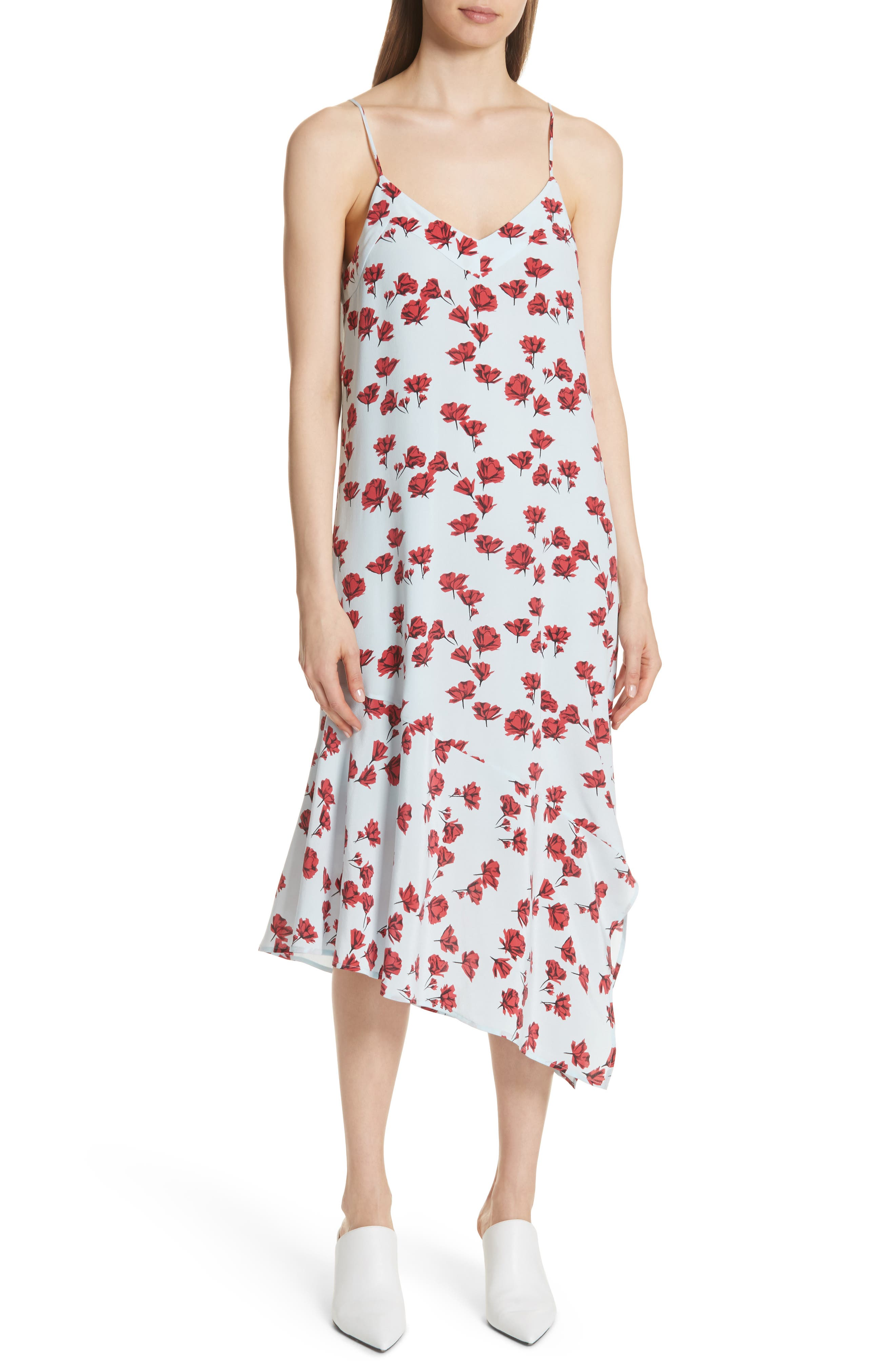 Jada Floral Print Silk Slipdress,                         Main,                         color,