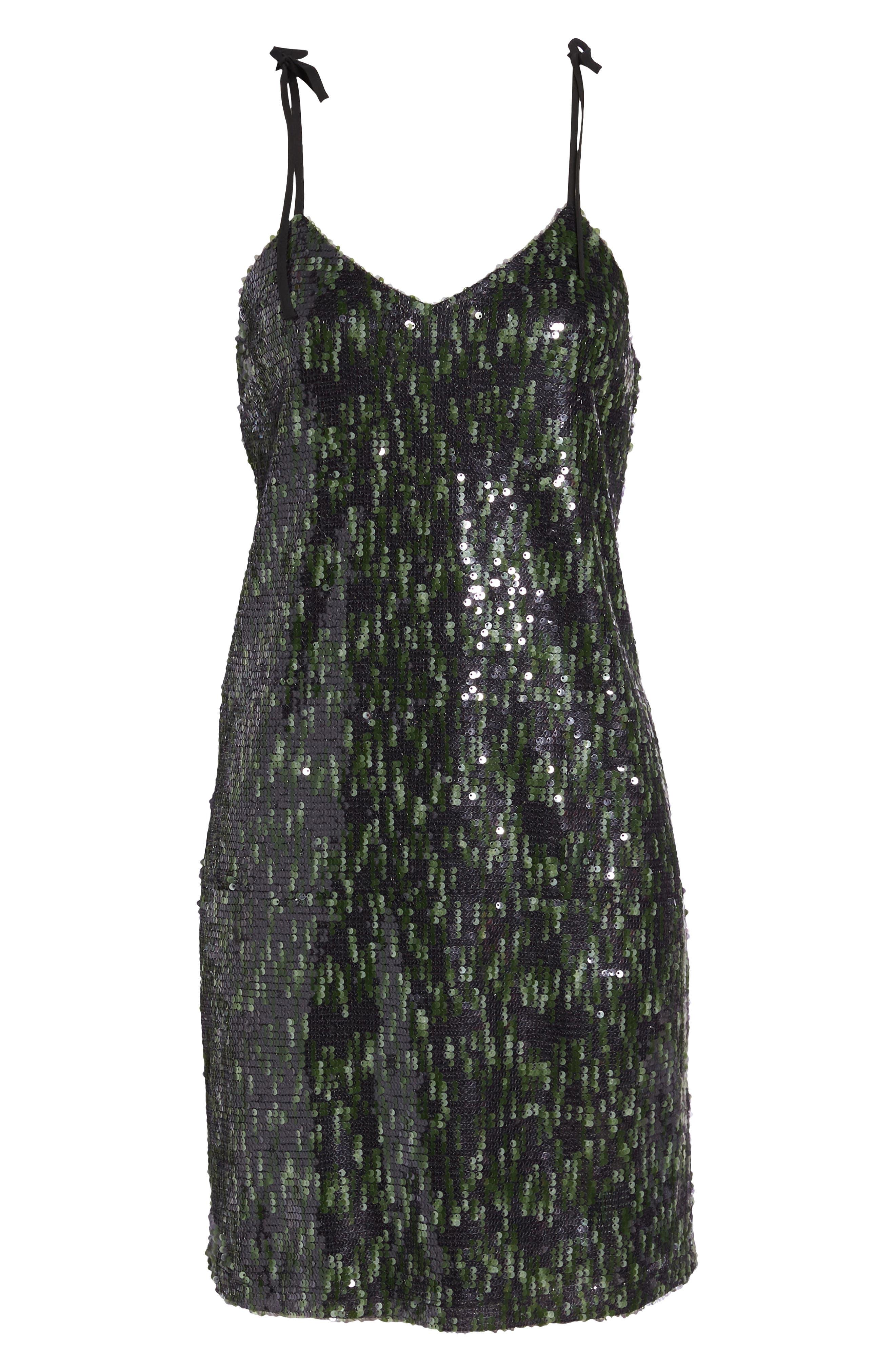 Camo Sequin Dress,                             Alternate thumbnail 6, color,                             BLACK/ GREEN
