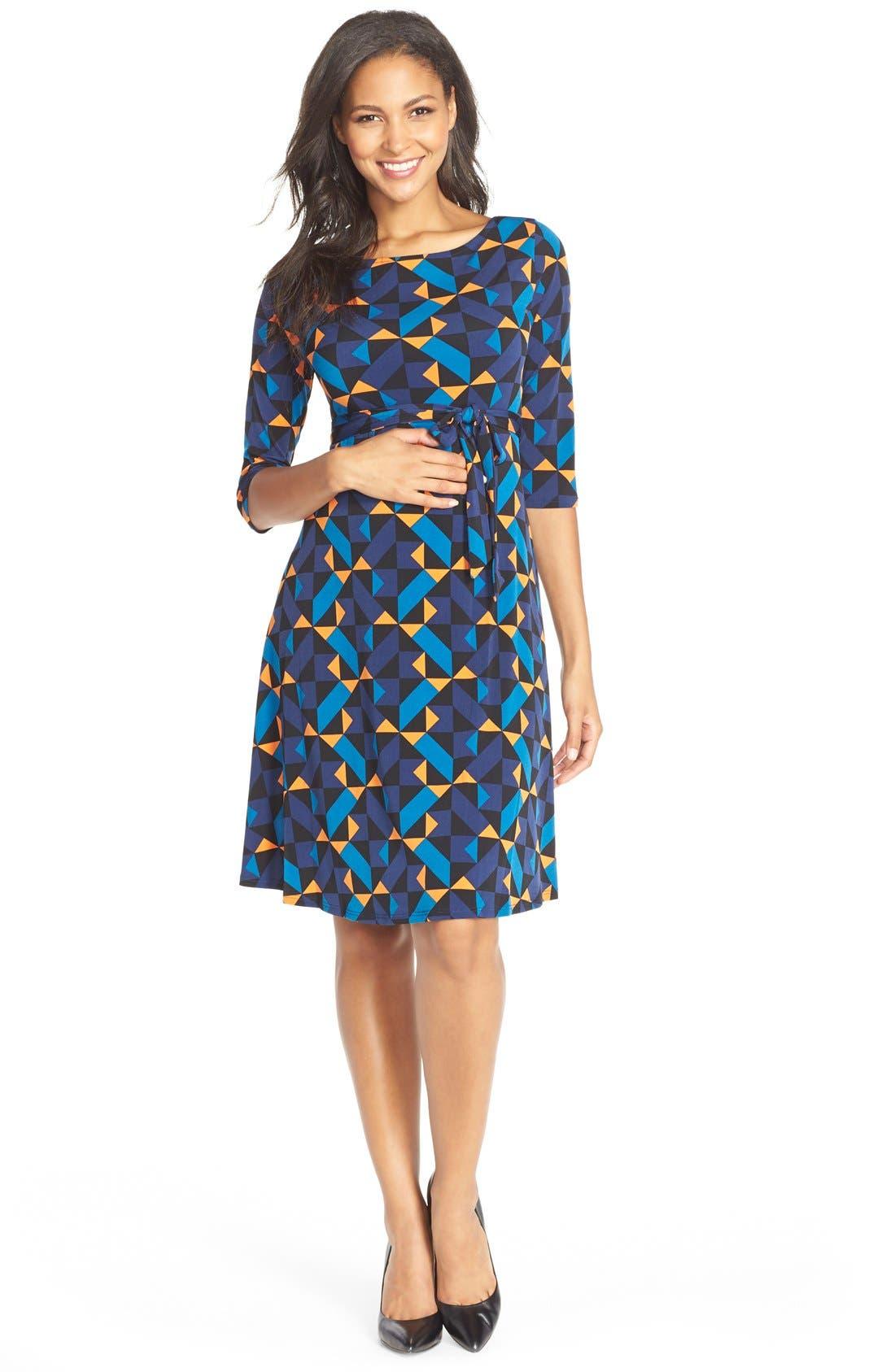 'Ilana' Belted Maternity Dress,                             Main thumbnail 7, color,