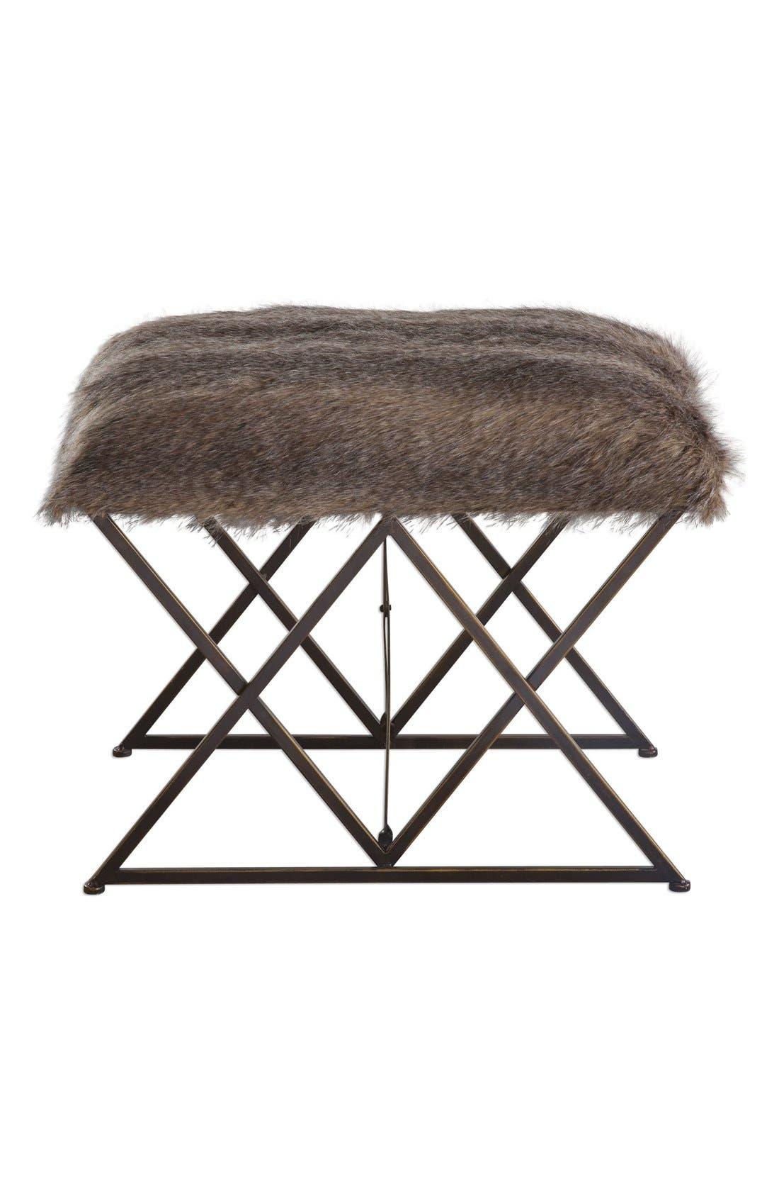 'Brannen' Faux Fur Bench,                             Main thumbnail 1, color,