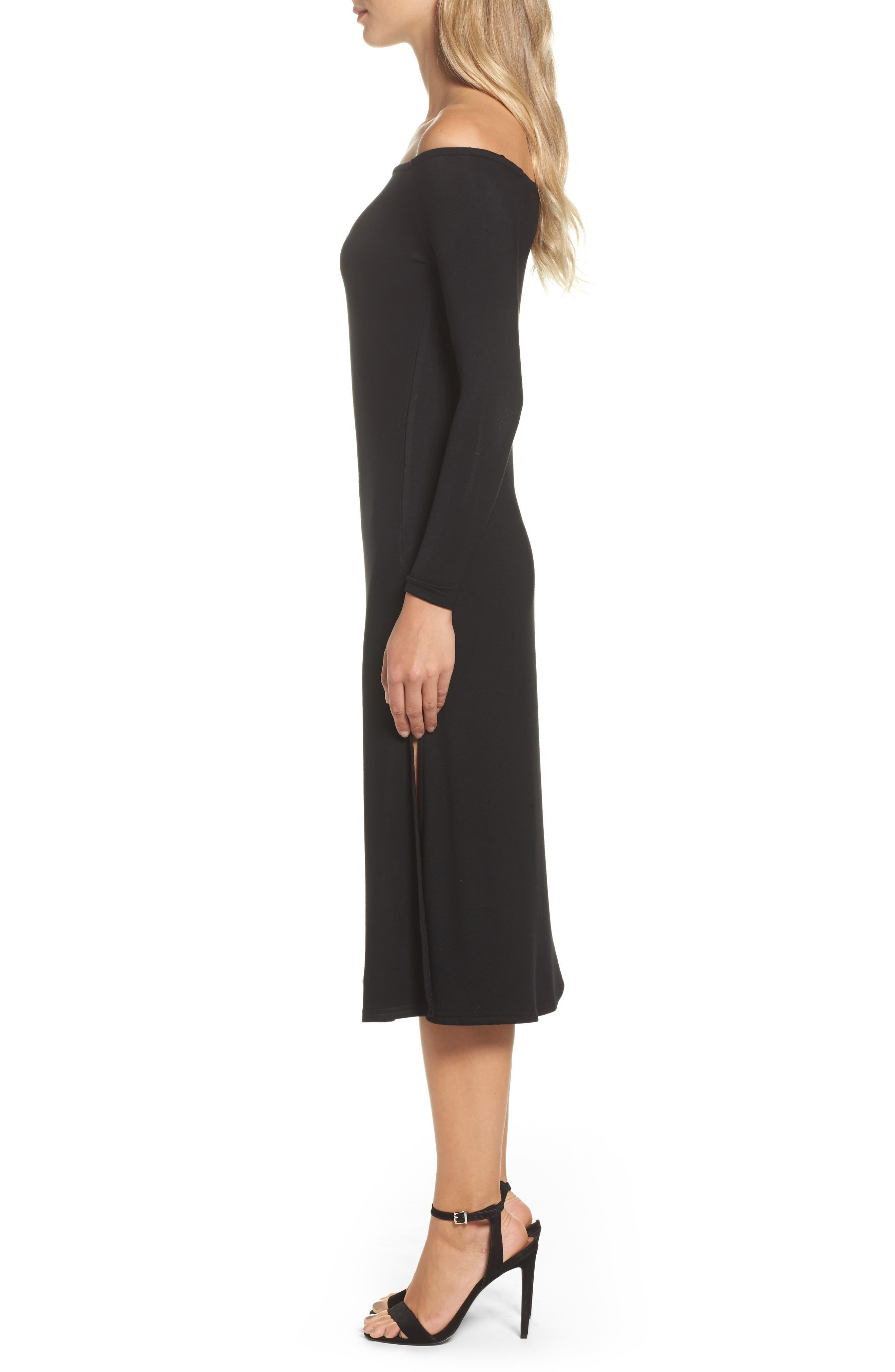 Blair Off the Shoulder A-Line Dress,                             Alternate thumbnail 3, color,                             001
