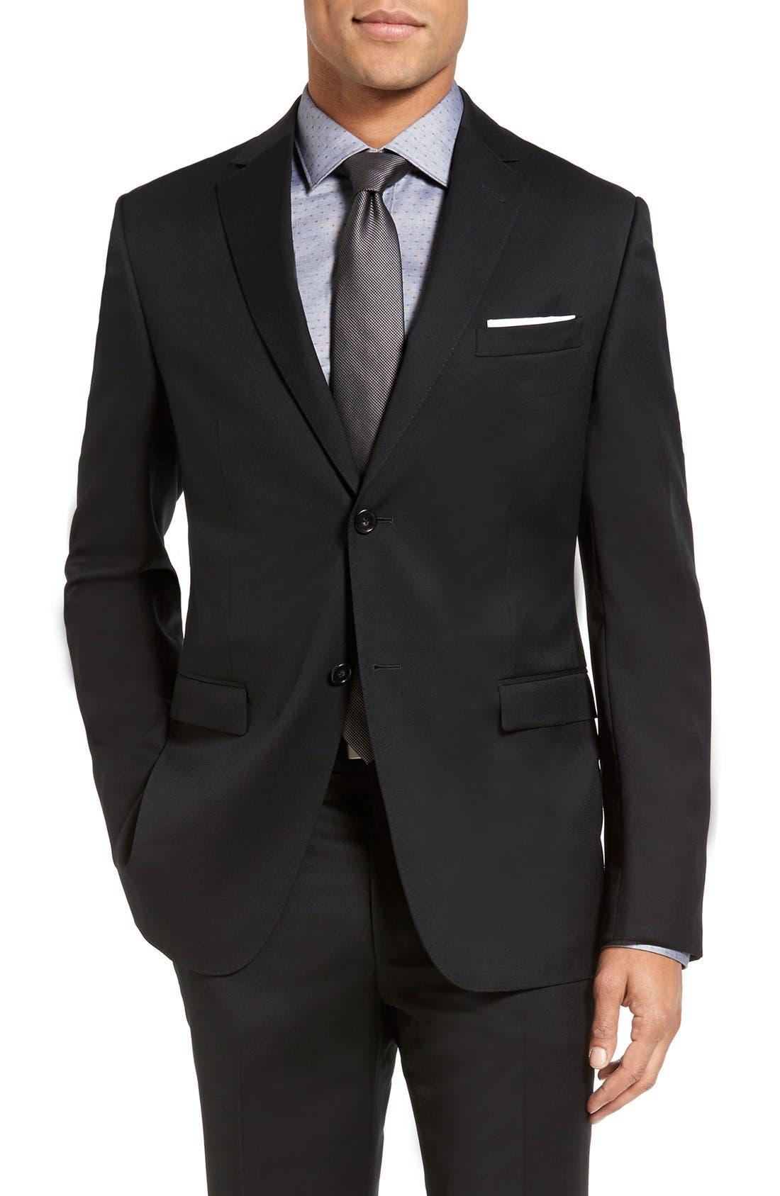 Drop 7 Trim Fit Wool Suit,                             Alternate thumbnail 3, color,                             001