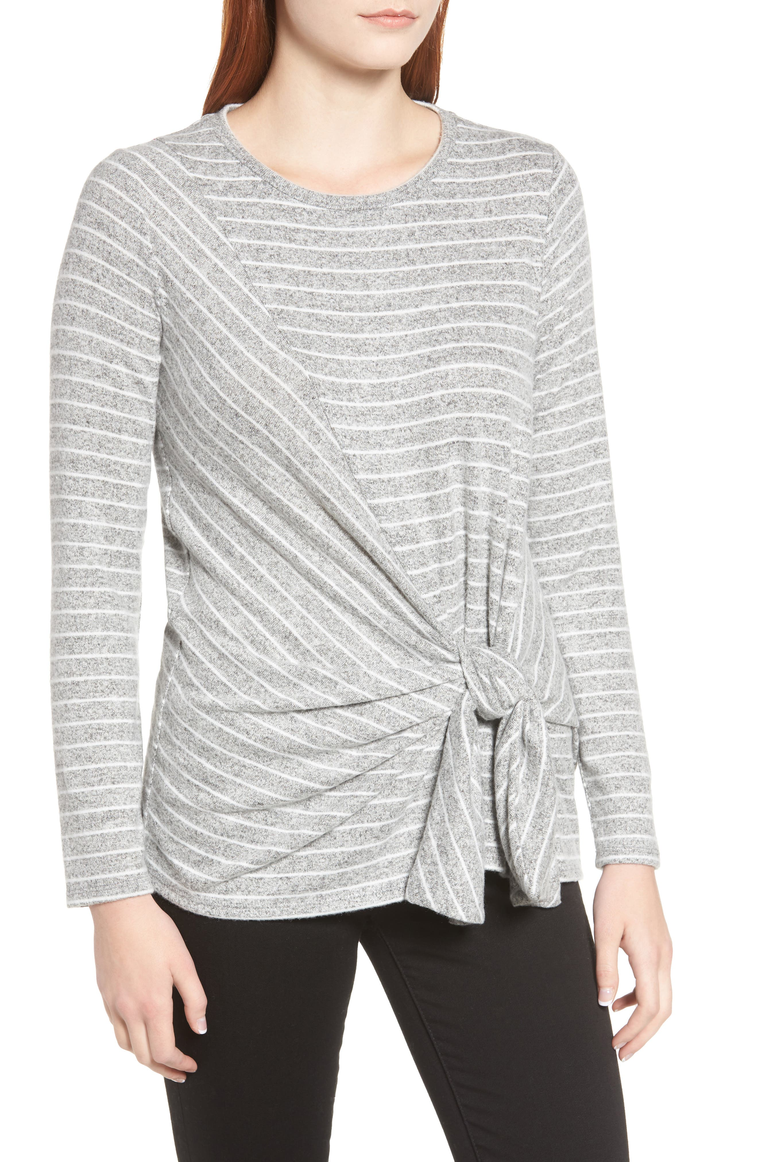 x Living in Yellow Lou Tie Front Fleece Sweater,                             Main thumbnail 1, color,                             GREY/ IVORY