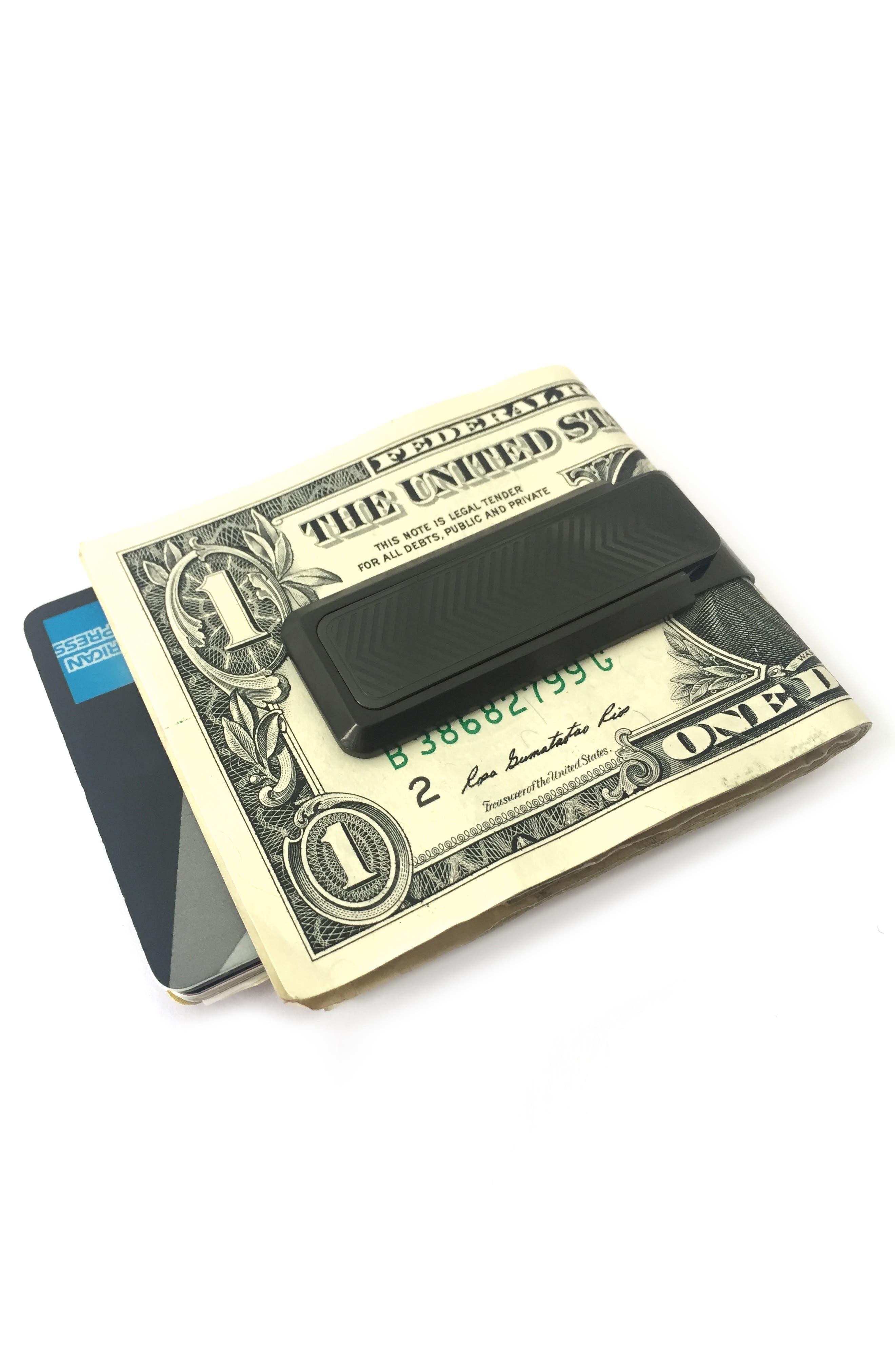 Stainless Steel Chevron Money Clip,                             Alternate thumbnail 2, color,                             BLACK