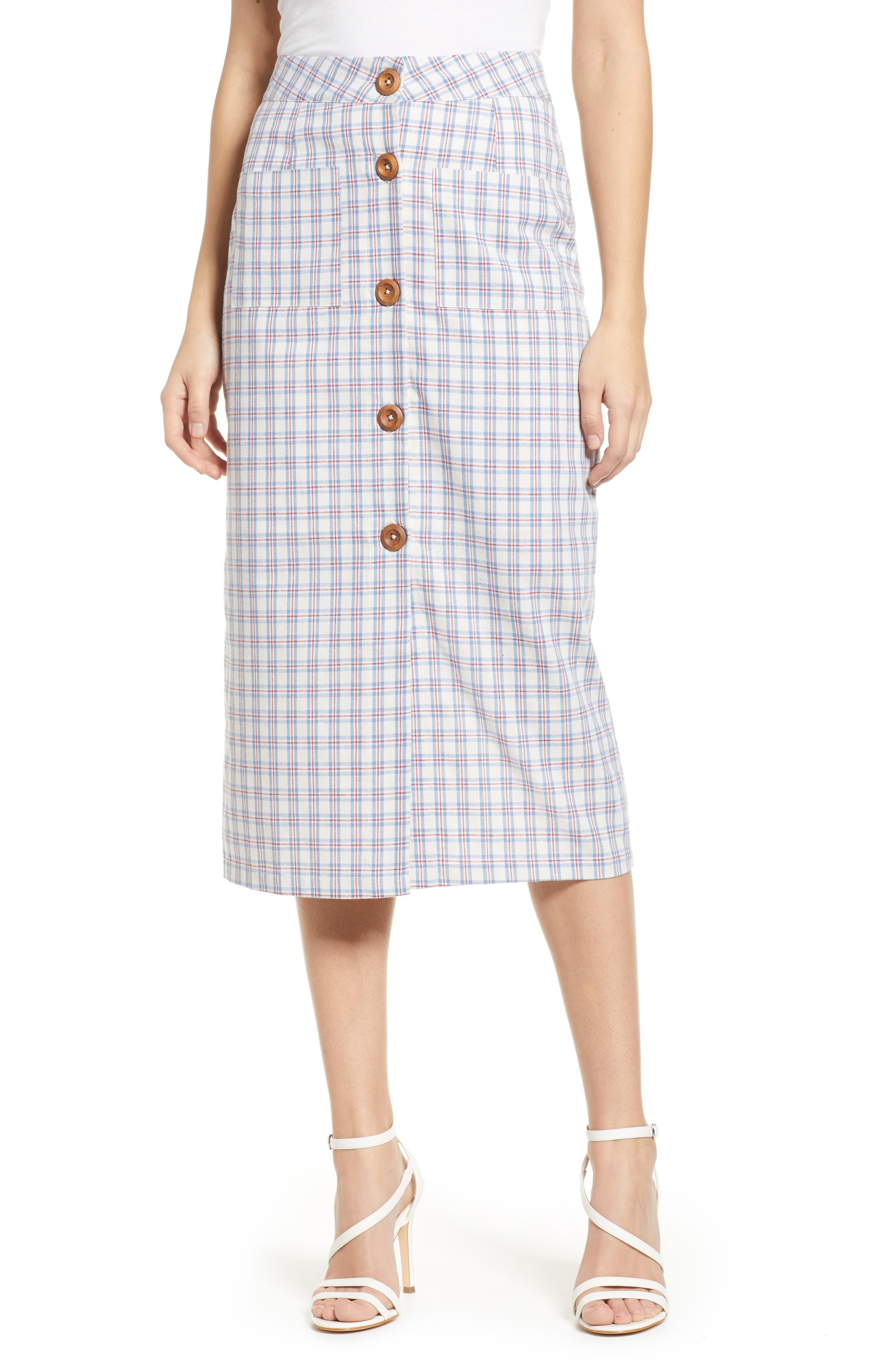 English Factory Plaid Button Down Midi Skirt, Blue