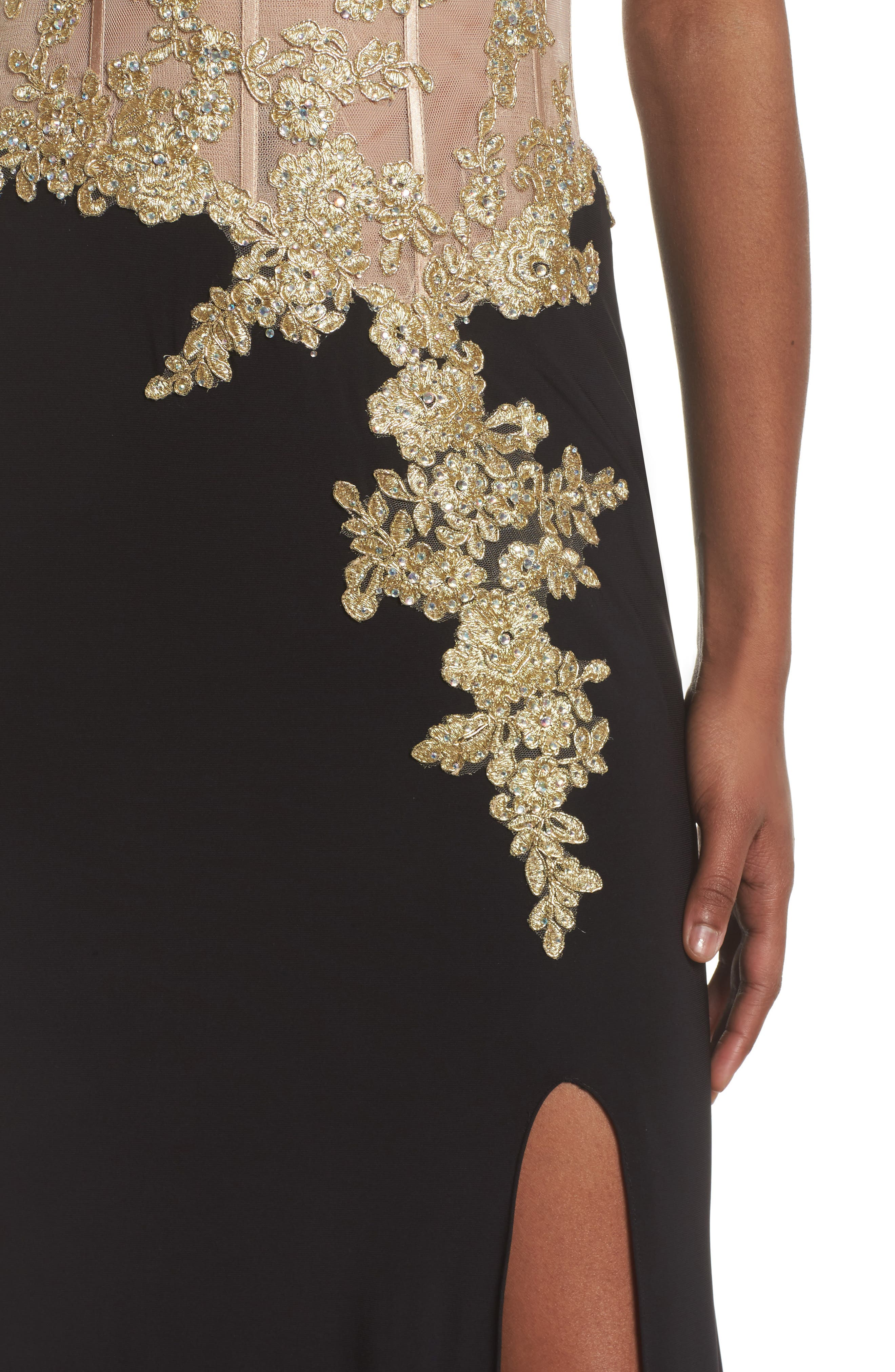 Appliqué Strapless Bustier Gown,                             Alternate thumbnail 4, color,                             GOLD/BLACK