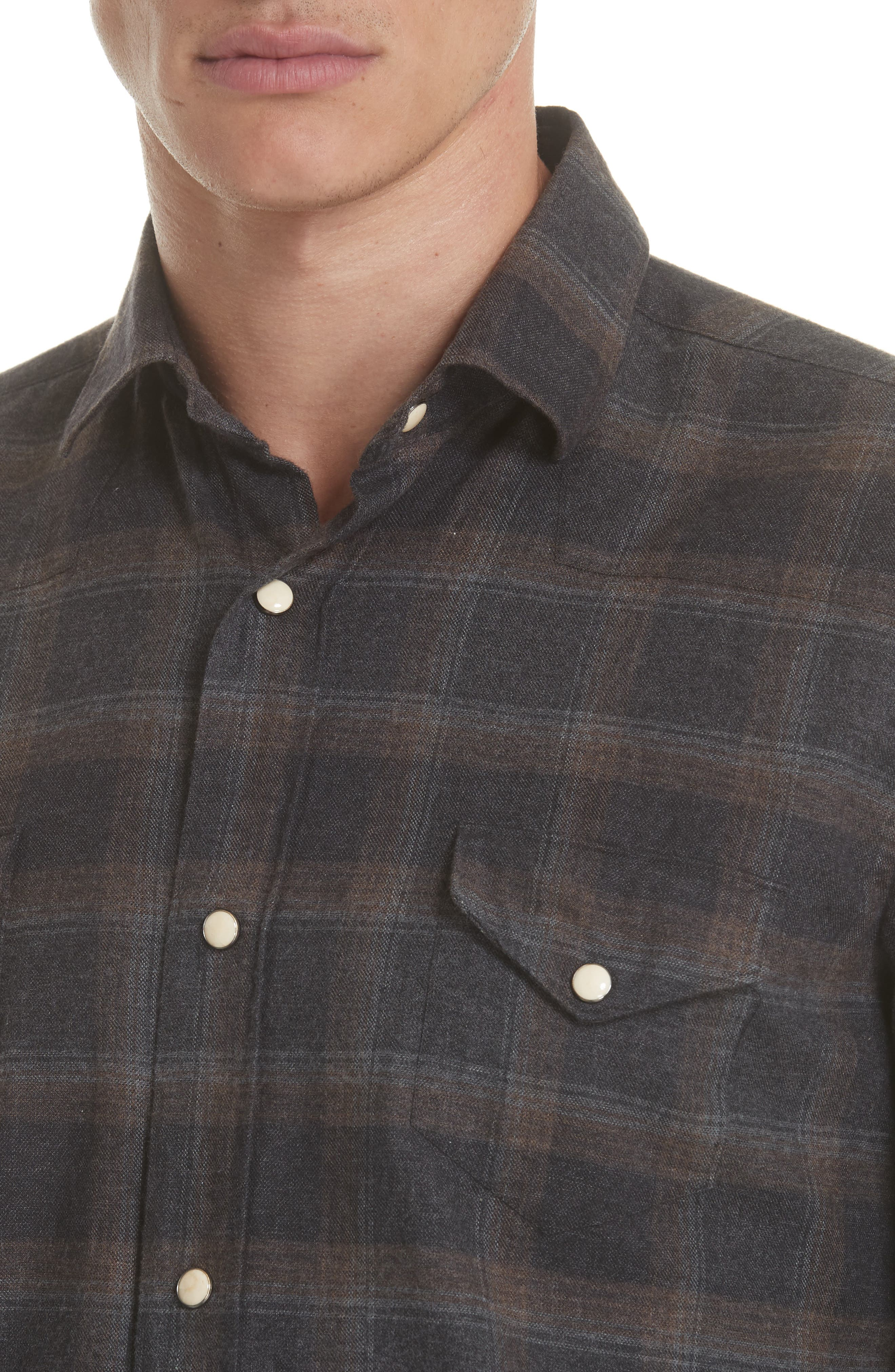 Slim Fit Plaid Western Shirt,                             Alternate thumbnail 2, color,                             GREY/ BROWN