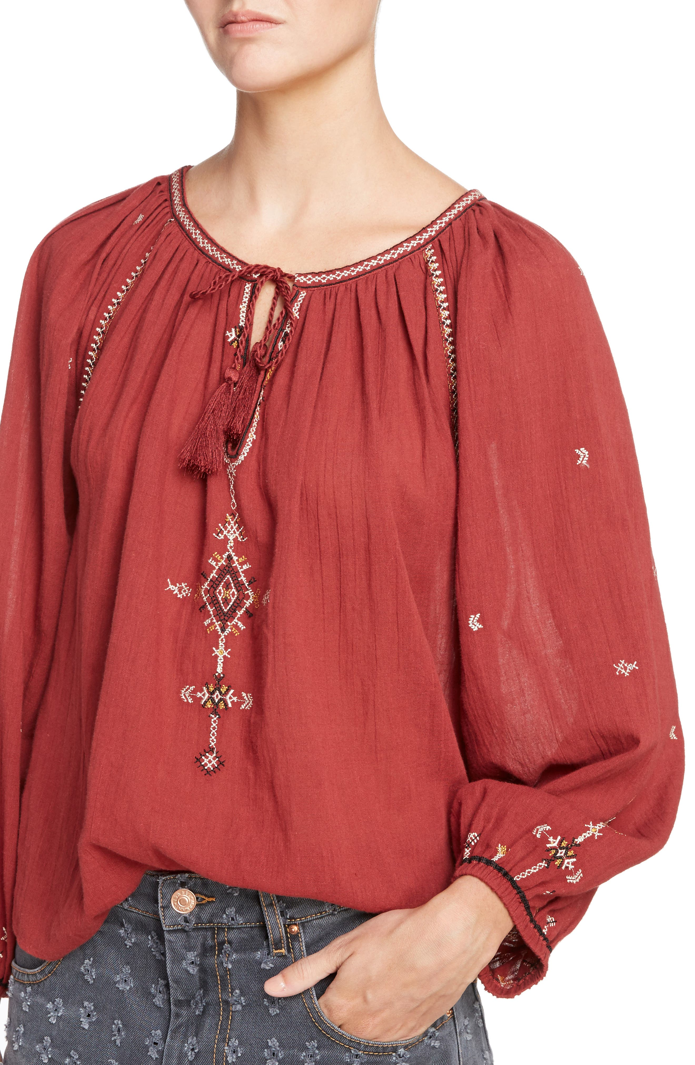 Isabel Marant Étoile Melina Embroidered Cotton Top,                             Alternate thumbnail 4, color,                             600