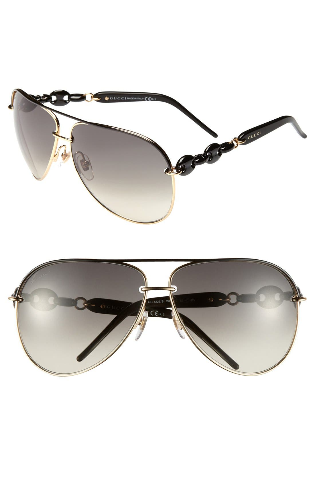 'Marina Chain' 63mm Aviator Sunglasses, Main, color, 001