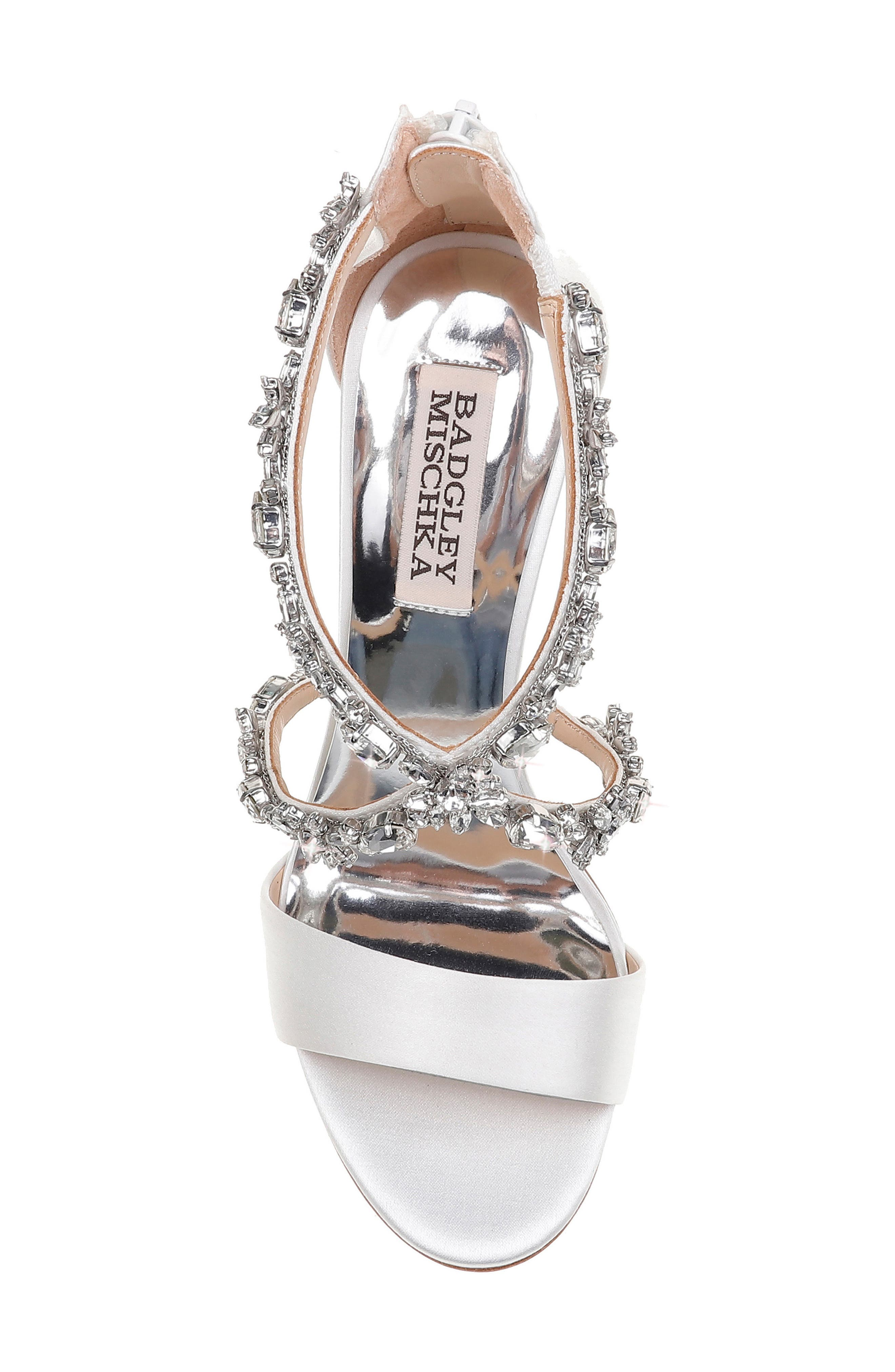 Crystal Embellished Sandal,                             Alternate thumbnail 5, color,                             SOFT WHITE SATIN