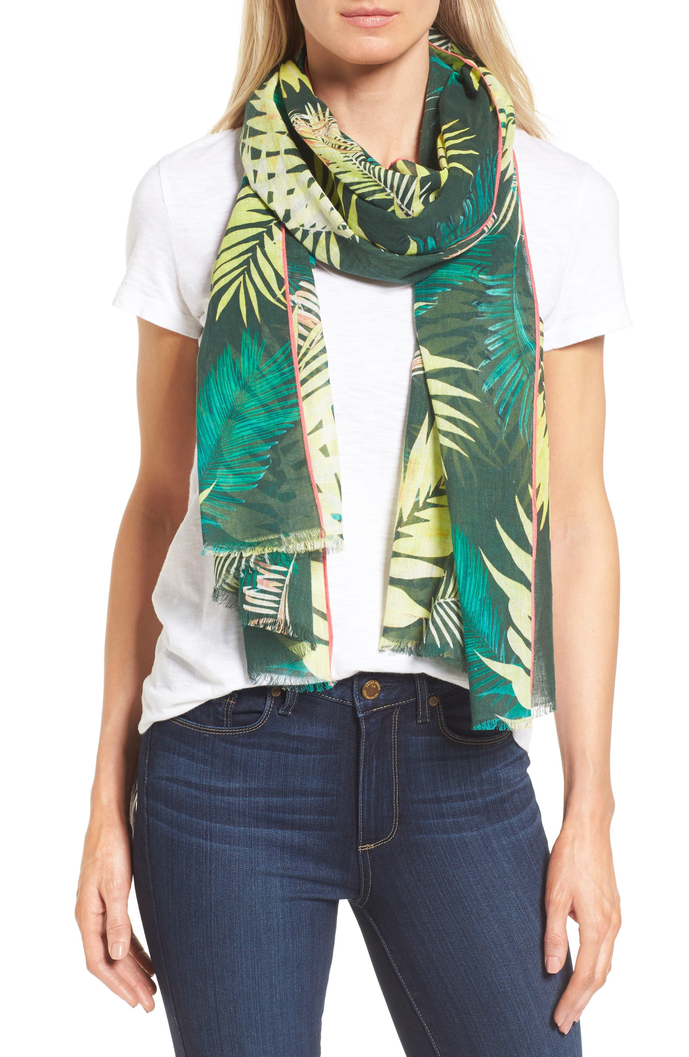 Palm Oblong Scarf,                         Main,                         color, 300