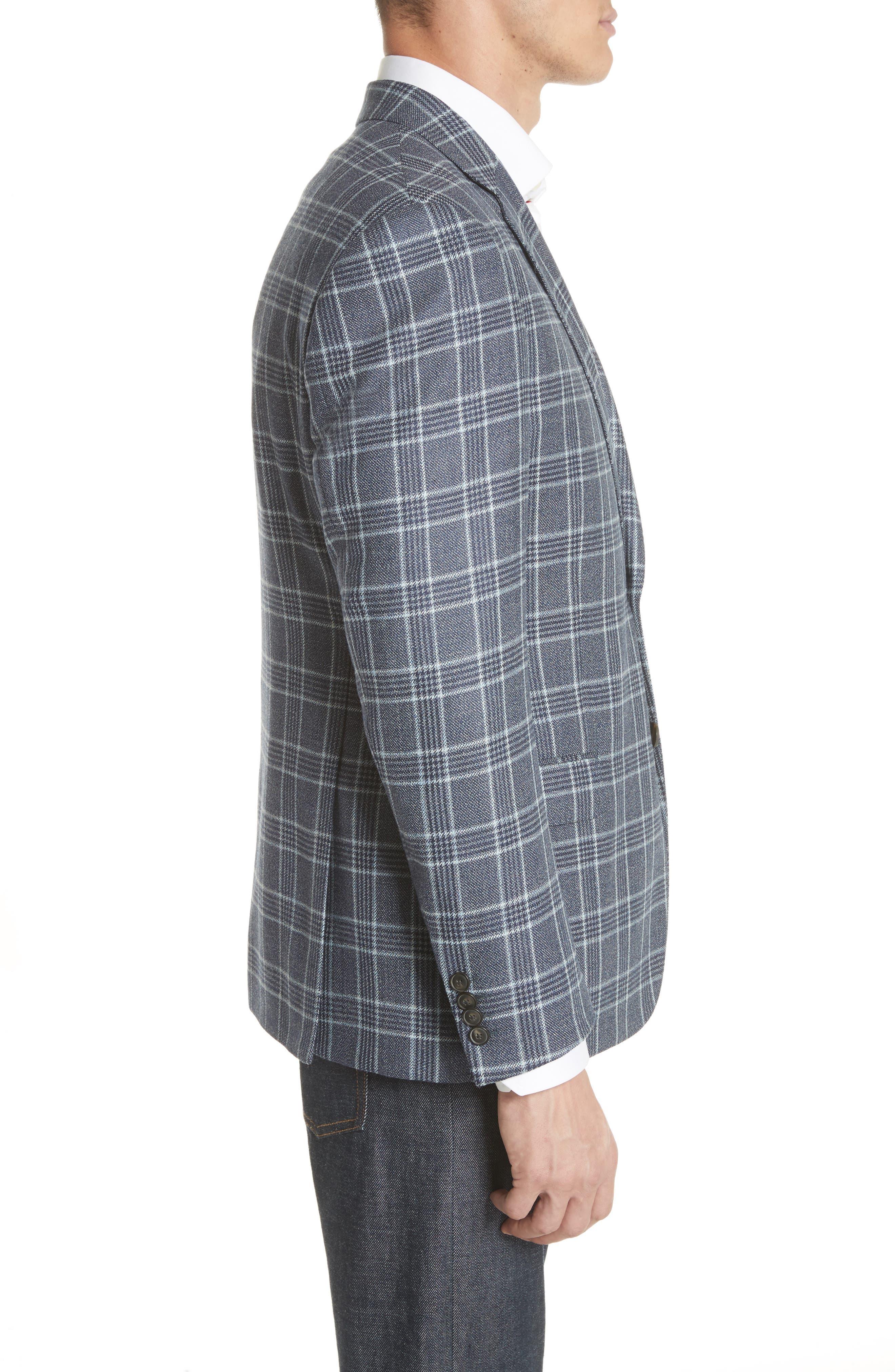 G Line Trim Fit Plaid Silk & Wool Sport Coat,                             Alternate thumbnail 3, color,                             459