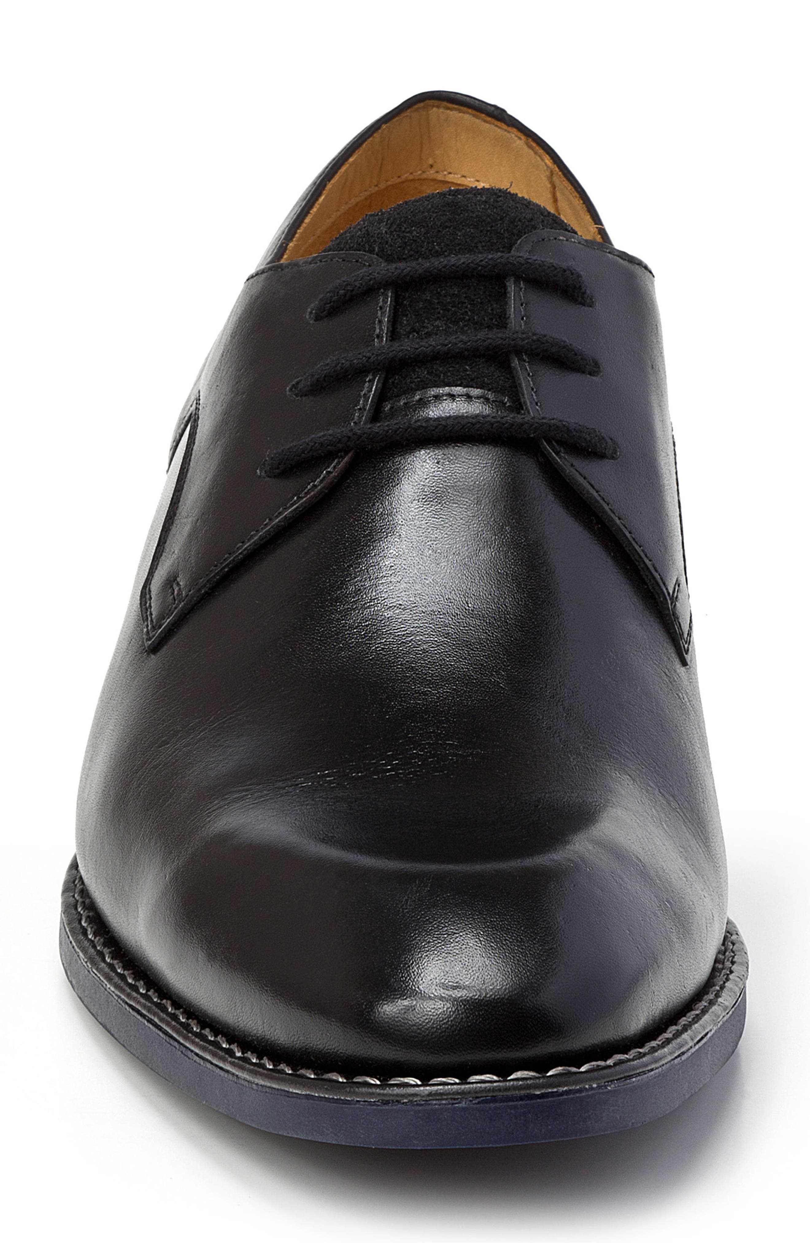 Garret Plain Toe Derby,                             Alternate thumbnail 4, color,                             BLACK LEATHER