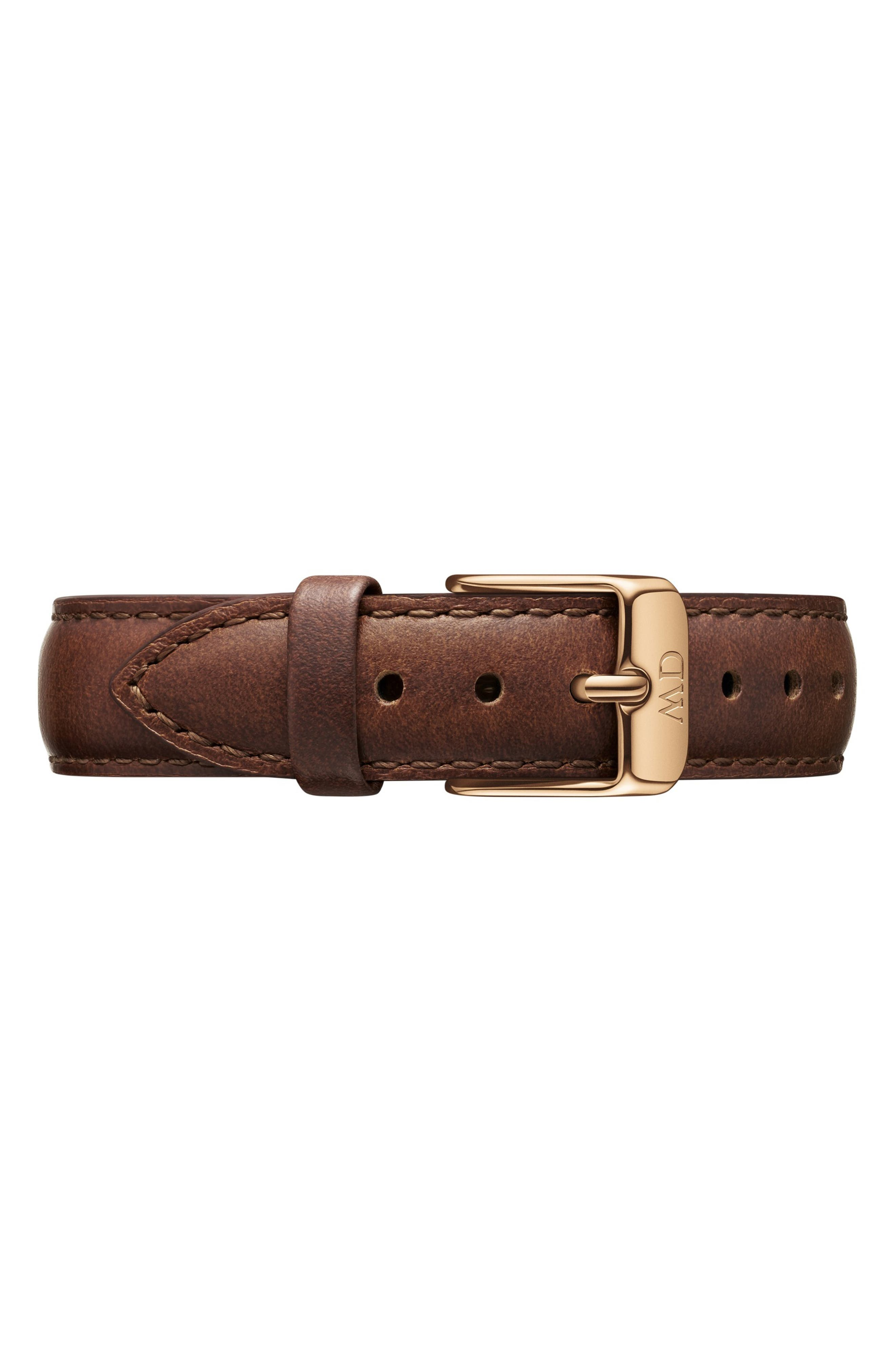 Classic Petite Leather Strap Watch, 32mm,                             Alternate thumbnail 2, color,                             BROWN/ WHITE/ ROSE GOLD