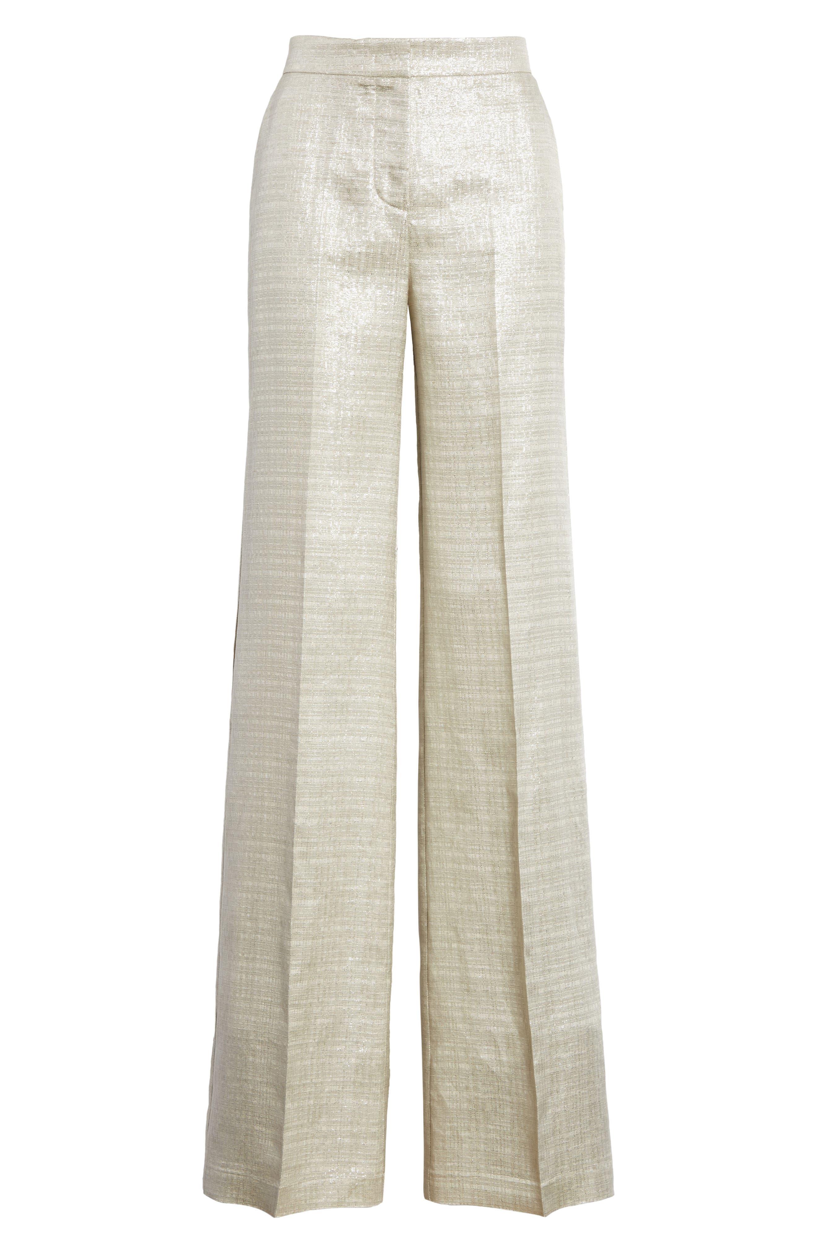 Metallic Wide Leg Pants,                             Alternate thumbnail 6, color,                             041