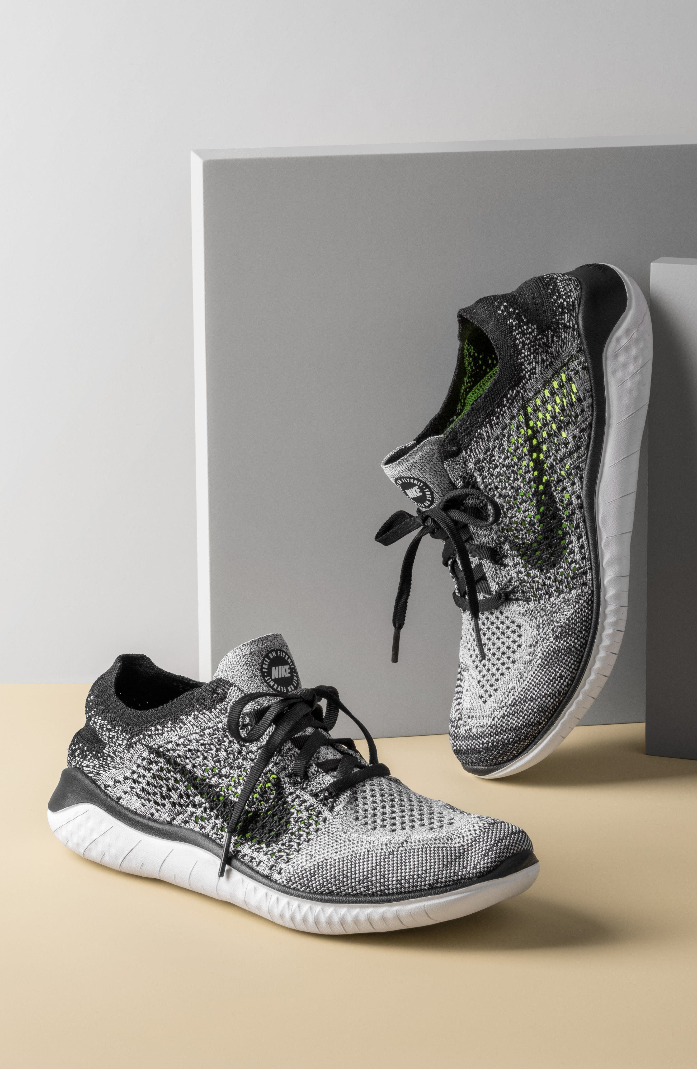 NIKE,                             Free RN 2018 Running Shoe,                             Alternate thumbnail 11, color,                             BLACK/ WHITE
