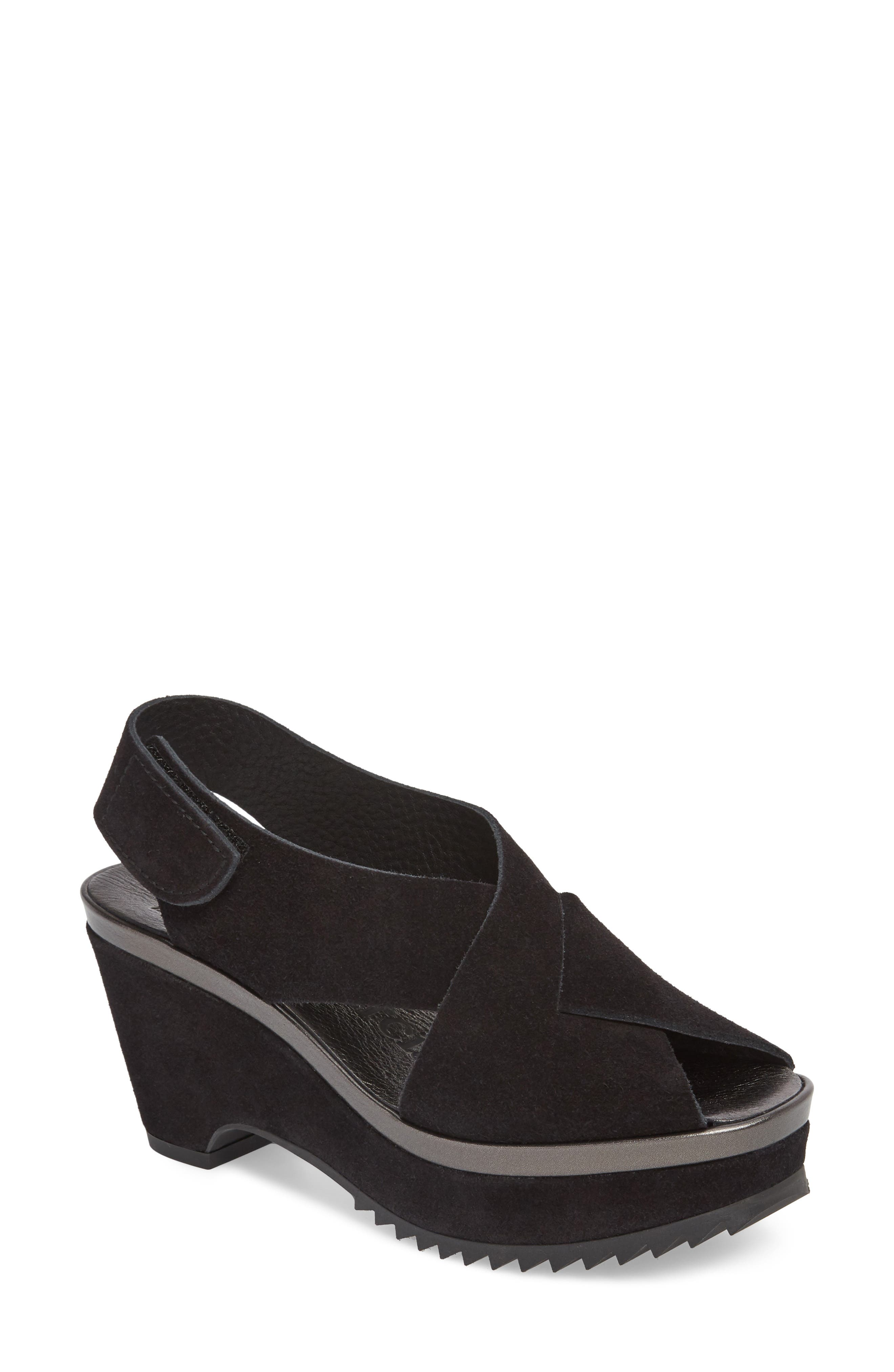 Fayre Cross Strap Wedge Sandal,                             Main thumbnail 1, color,                             BLACK