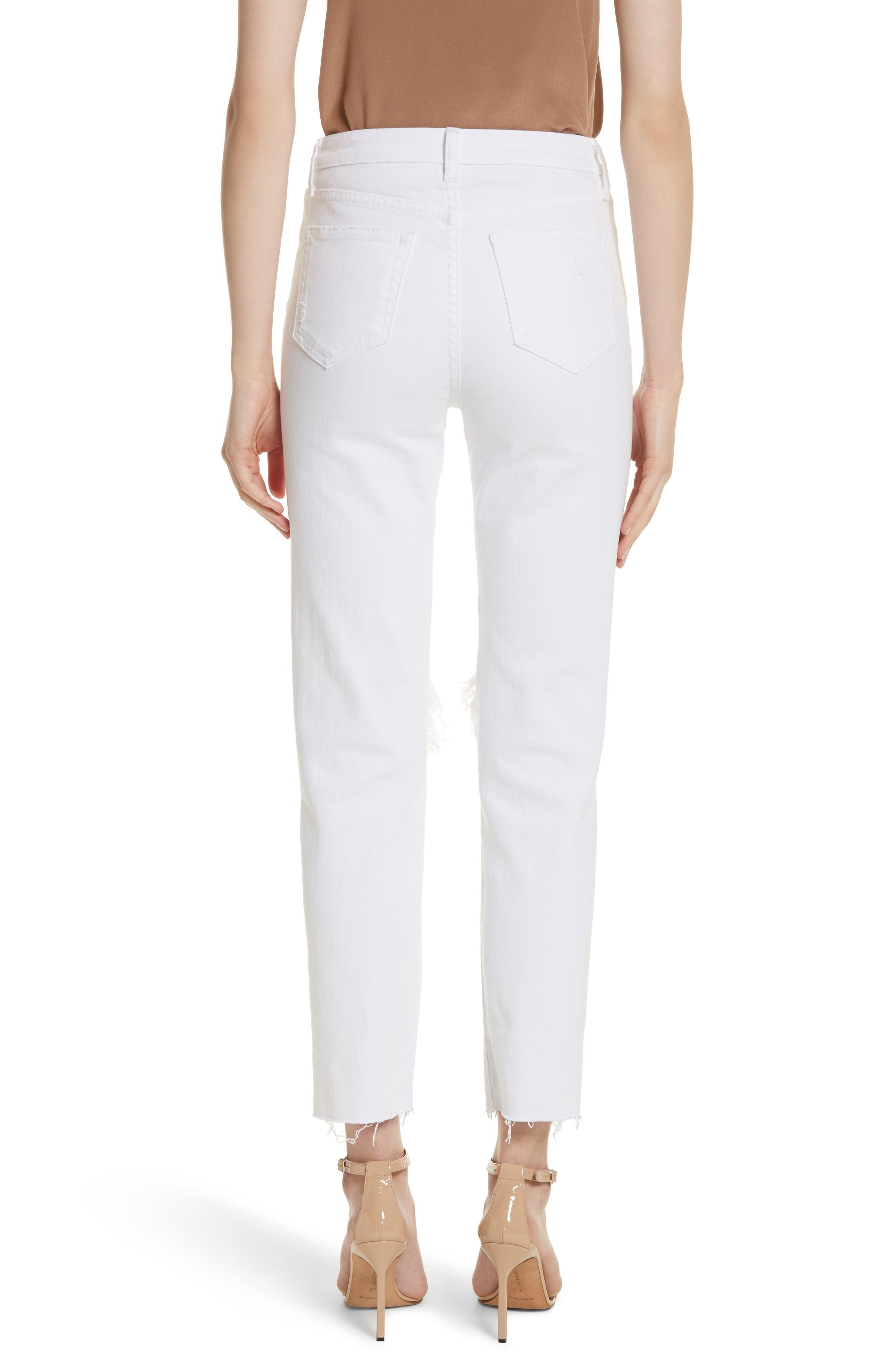 Audrina Ripped Straight Leg Crop Jeans,                             Alternate thumbnail 2, color,                             BLANC WORN DESTRUCT