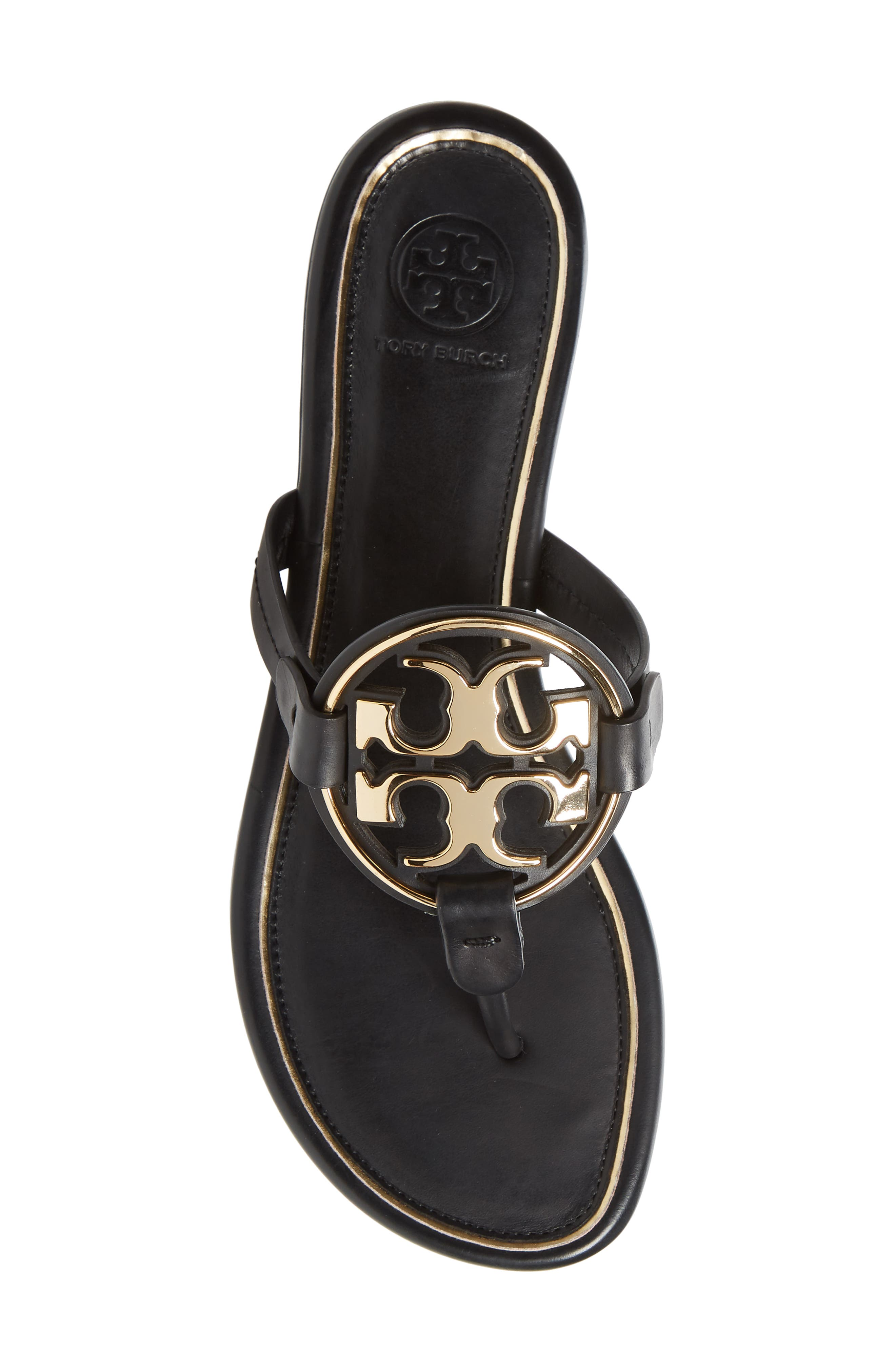 TORY BURCH,                             Metal Miller Flip Flop,                             Alternate thumbnail 5, color,                             PERFECT BLACK/ GOLD