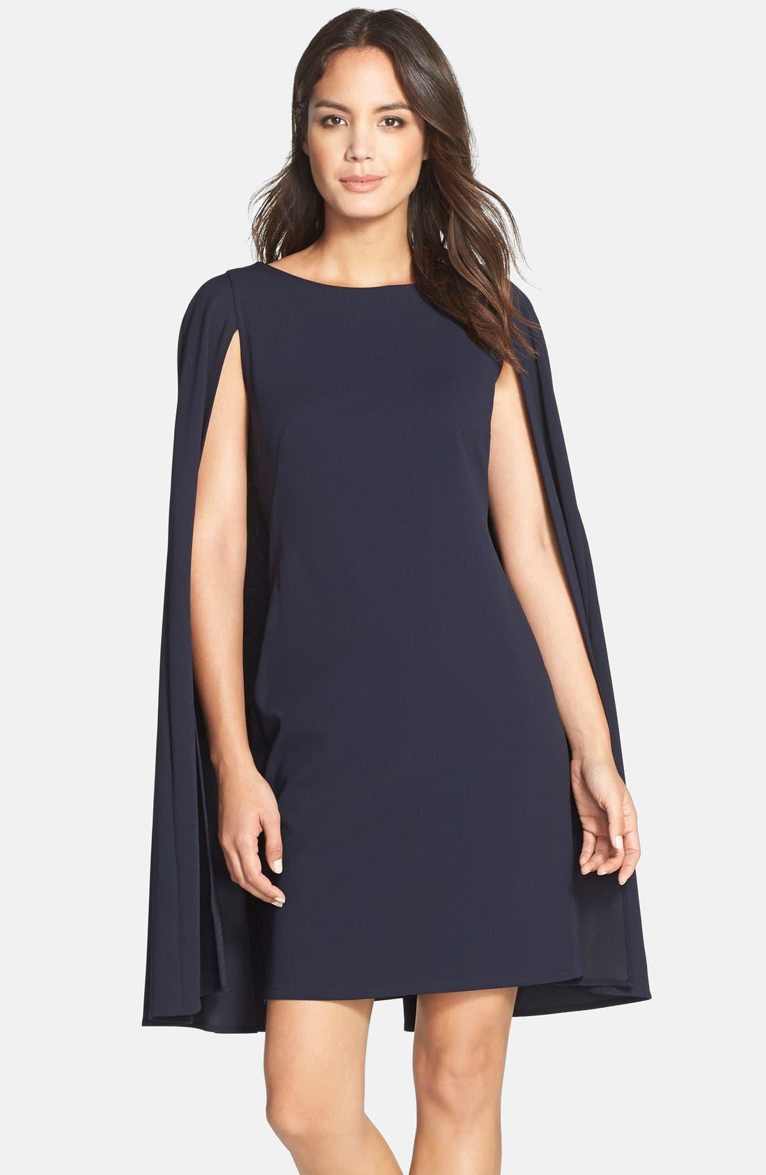 ADRIANNA PAPELL Cape Sheath Dress, Main, color, 412