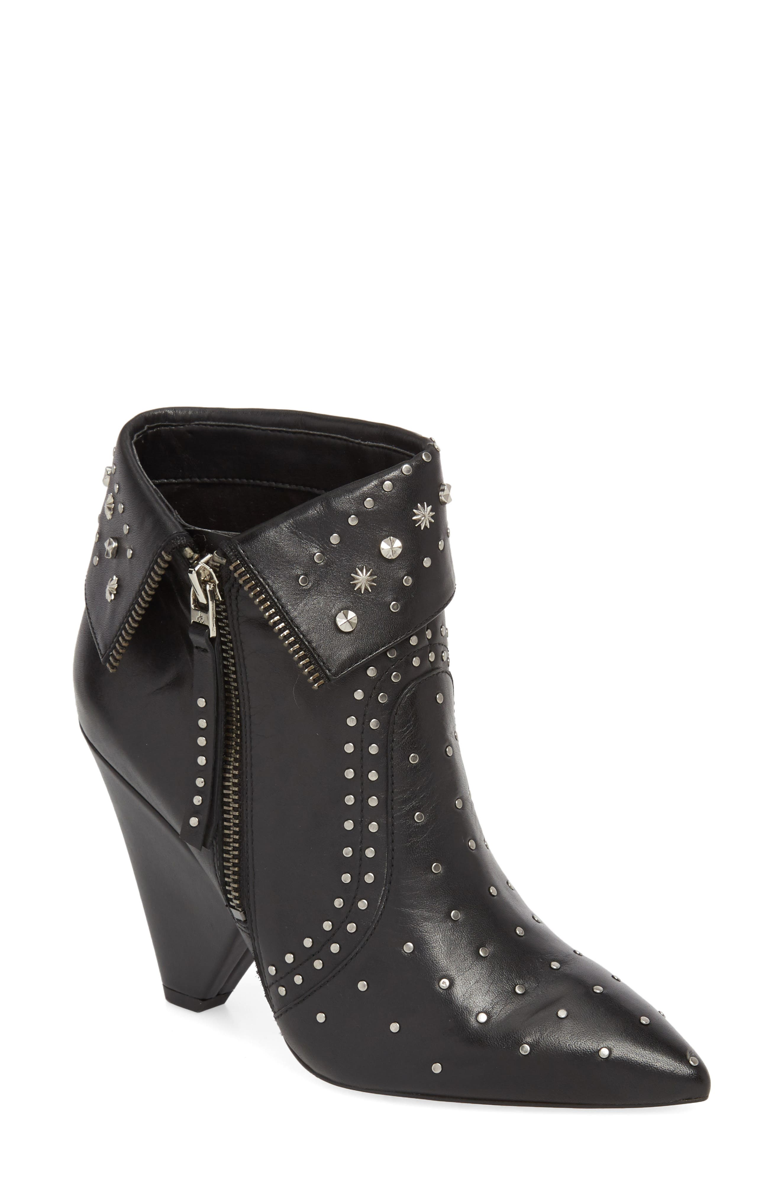 Royce Studded Bootie,                             Main thumbnail 1, color,                             BLACK LEATHER