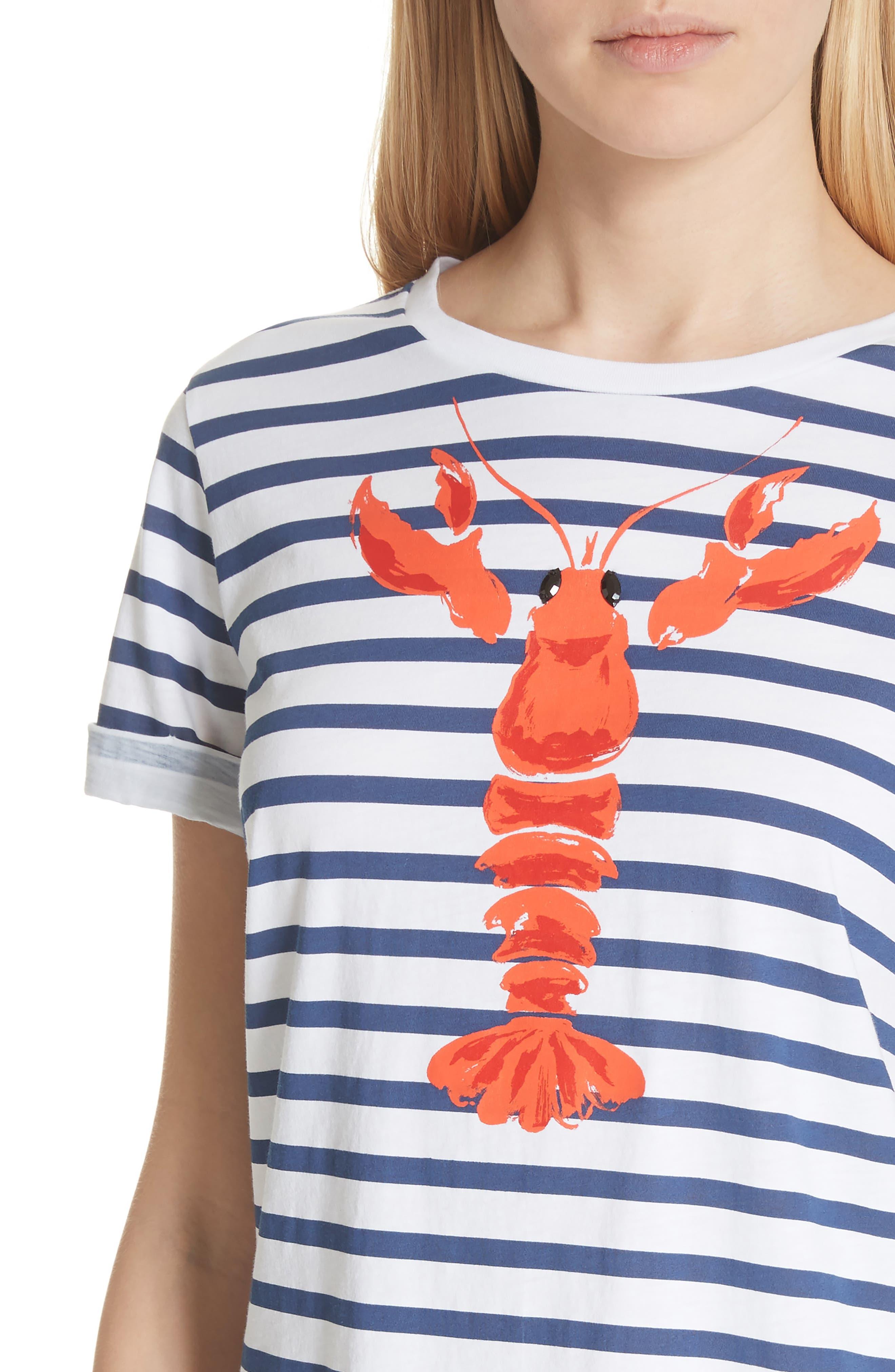 lobster stripe tee,                             Alternate thumbnail 4, color,                             107