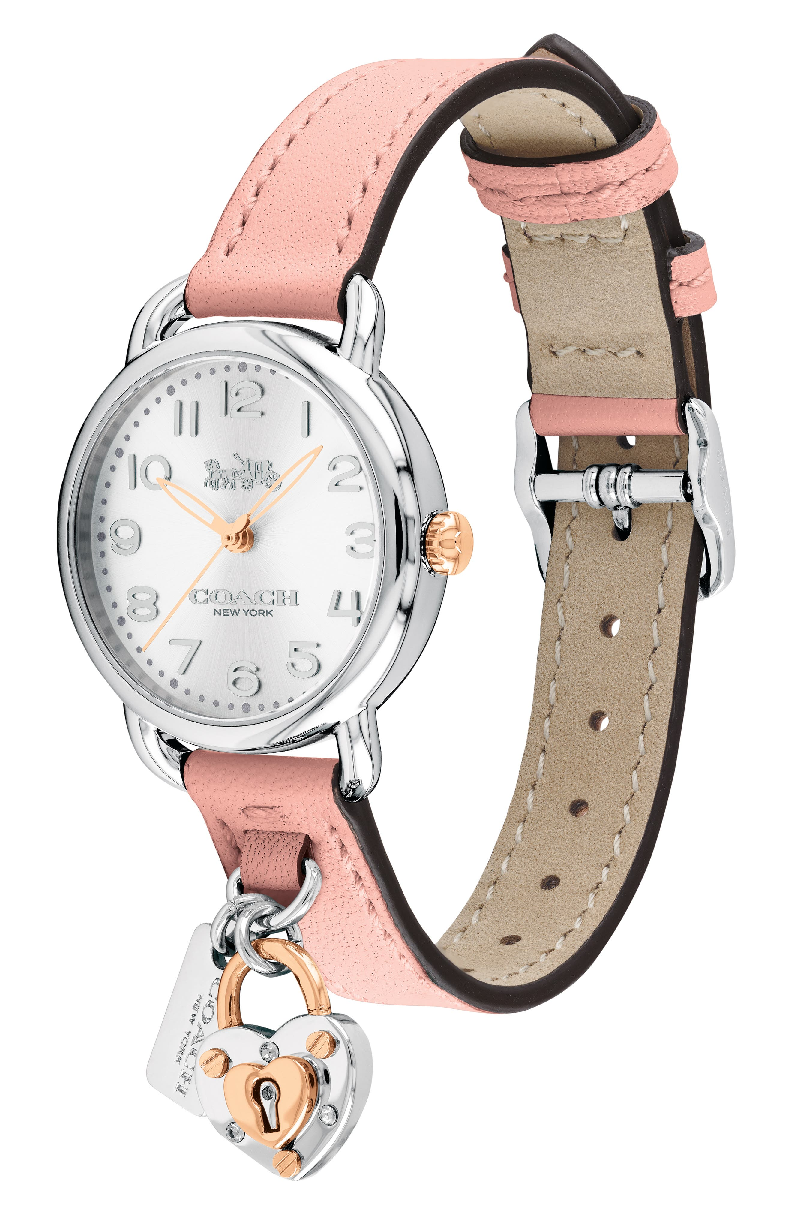 Delancey Charm Detail Leather Strap Watch, 36mm,                             Alternate thumbnail 3, color,                             BLUSH/ SILVER