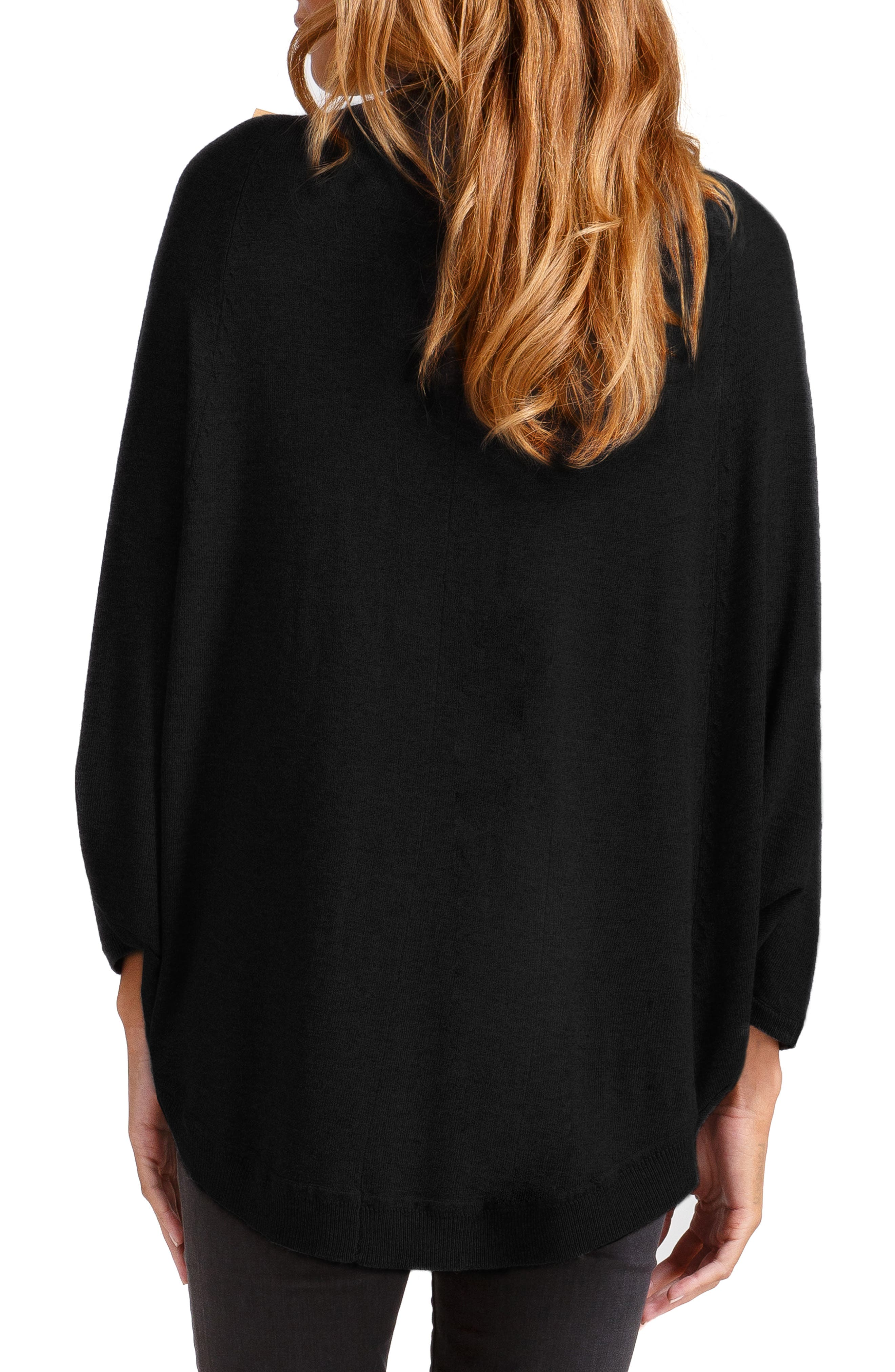 Batwing Poncho Maternity Sweater,                             Alternate thumbnail 2, color,                             JET BLACK