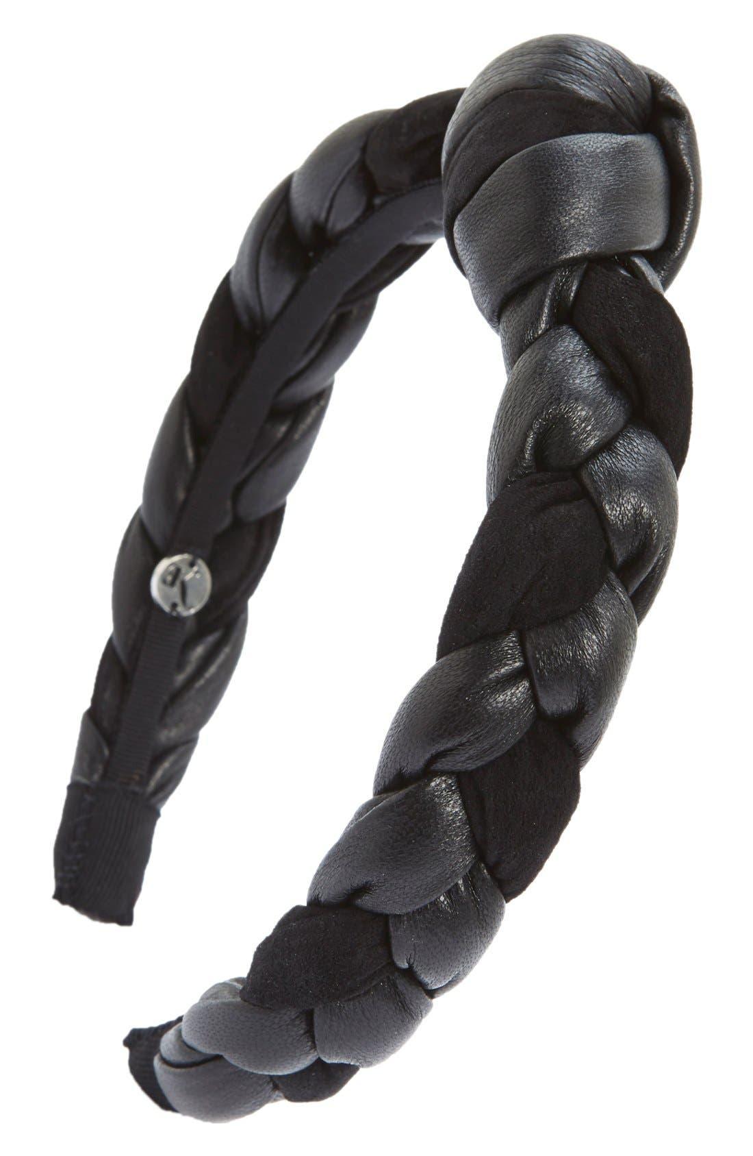 'Amina' Braided Leather & Velvet Knot Headband,                             Main thumbnail 1, color,                             001
