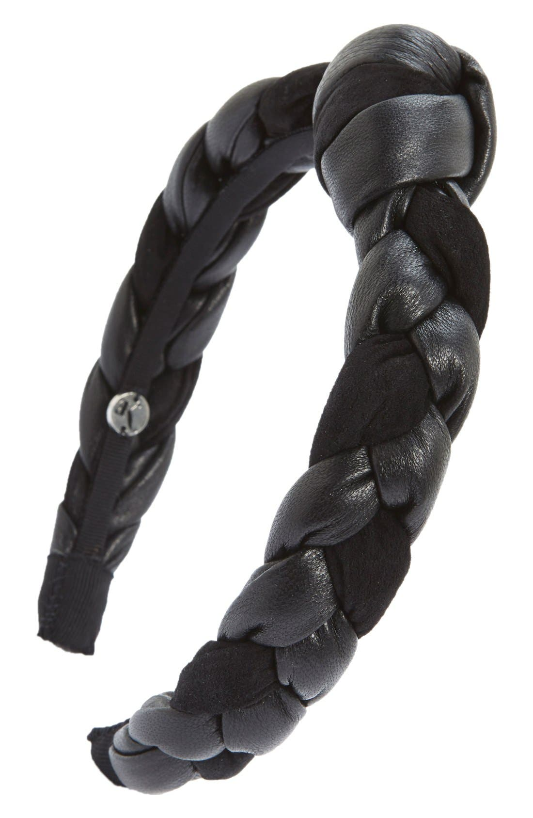 'Amina' Braided Leather & Velvet Knot Headband, Main, color, 001