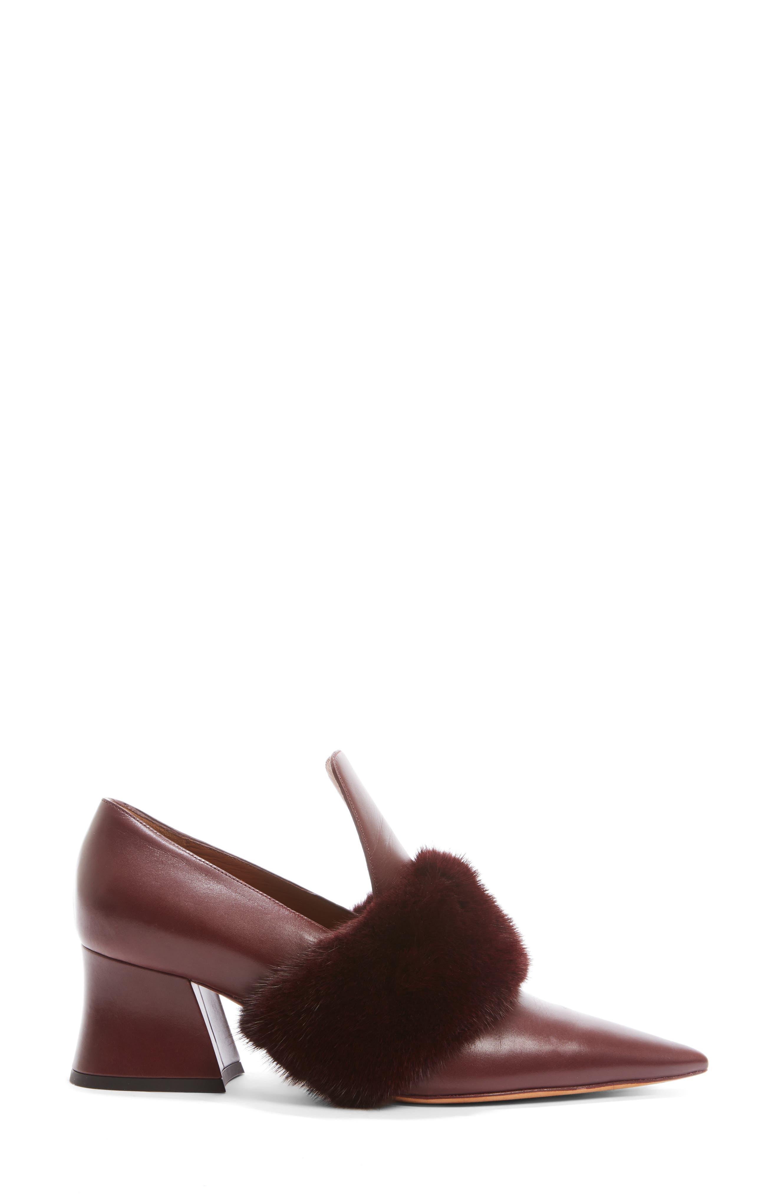 Patricia Pump with Genuine Mink Fur Trim,                             Alternate thumbnail 4, color,                             930