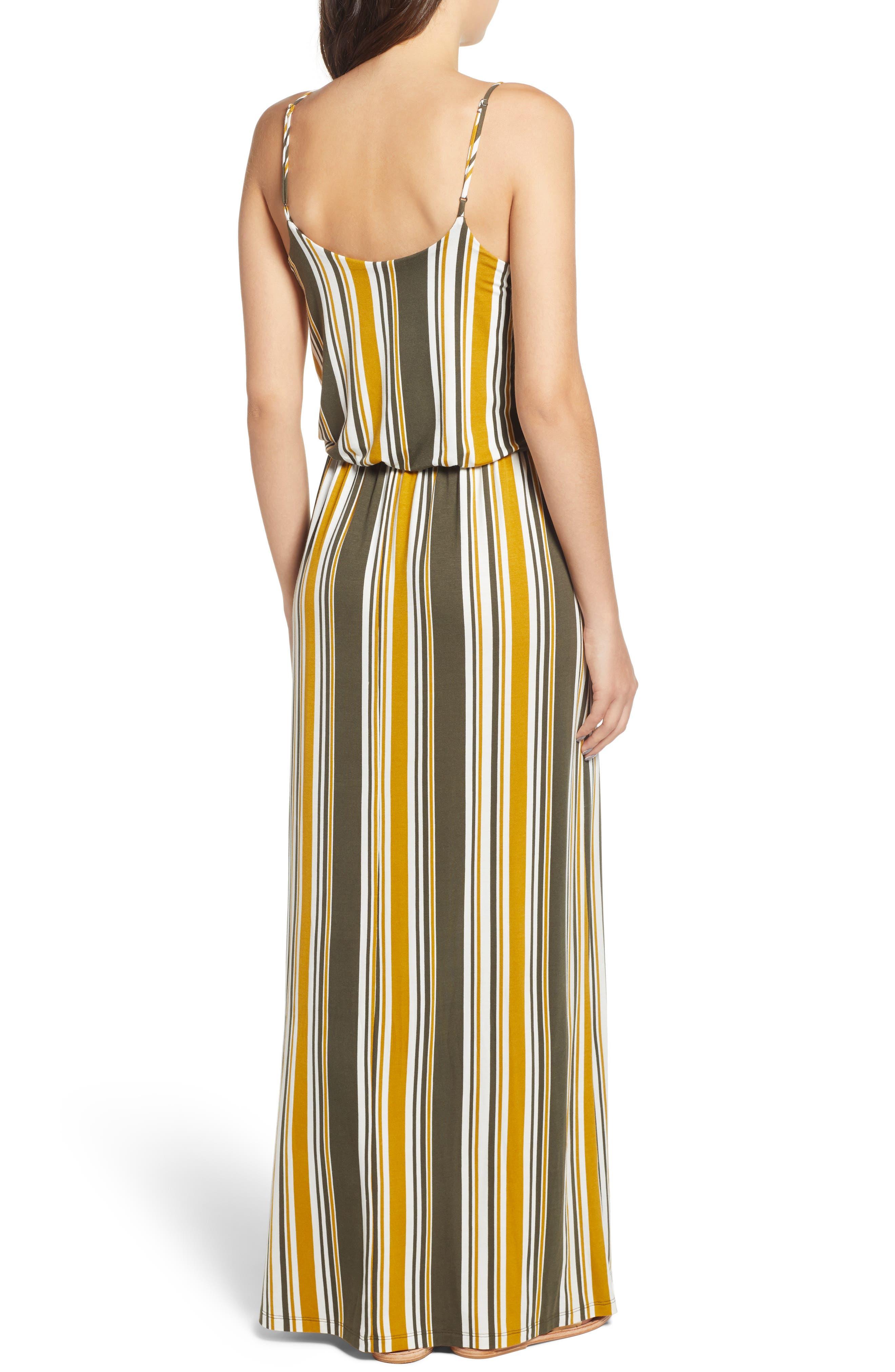 Knit Maxi Dress,                             Alternate thumbnail 2, color,                             ARMY GREEN/ MUSTARD