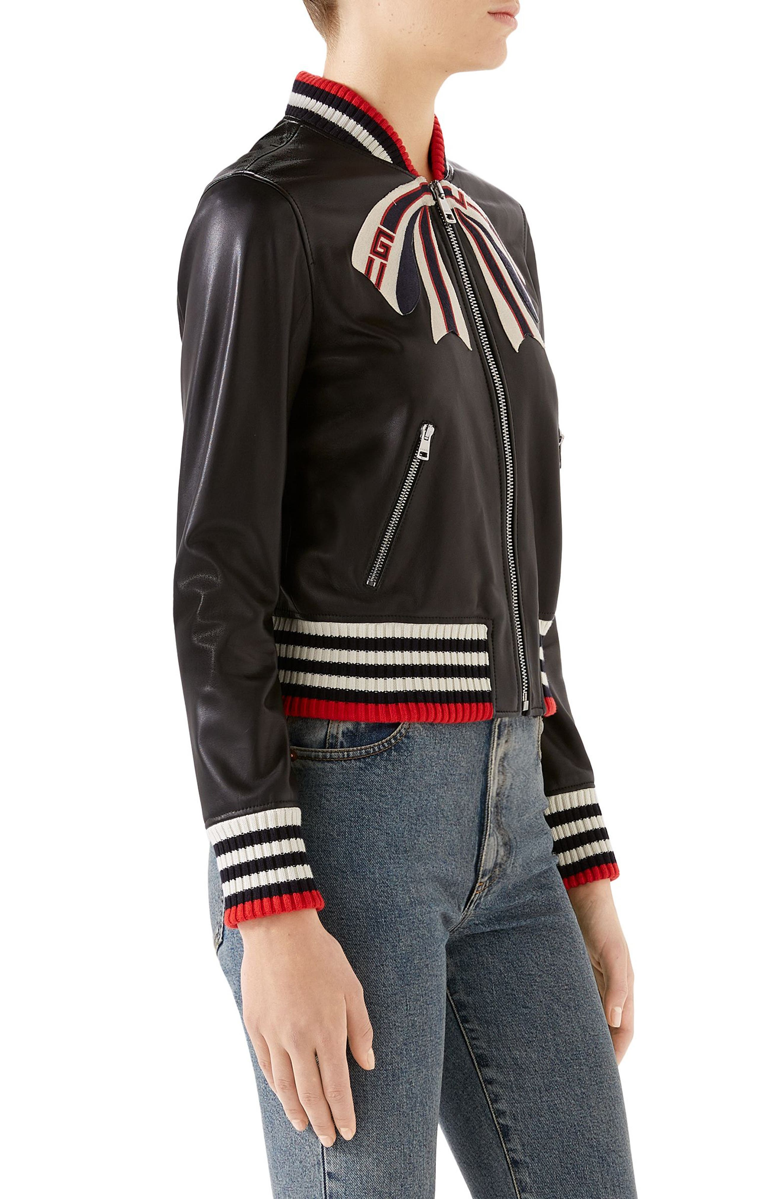 GUCCI,                             Bow Leather Bomber Jacket,                             Alternate thumbnail 3, color,                             1082 BLACK/ MULTICOLOR