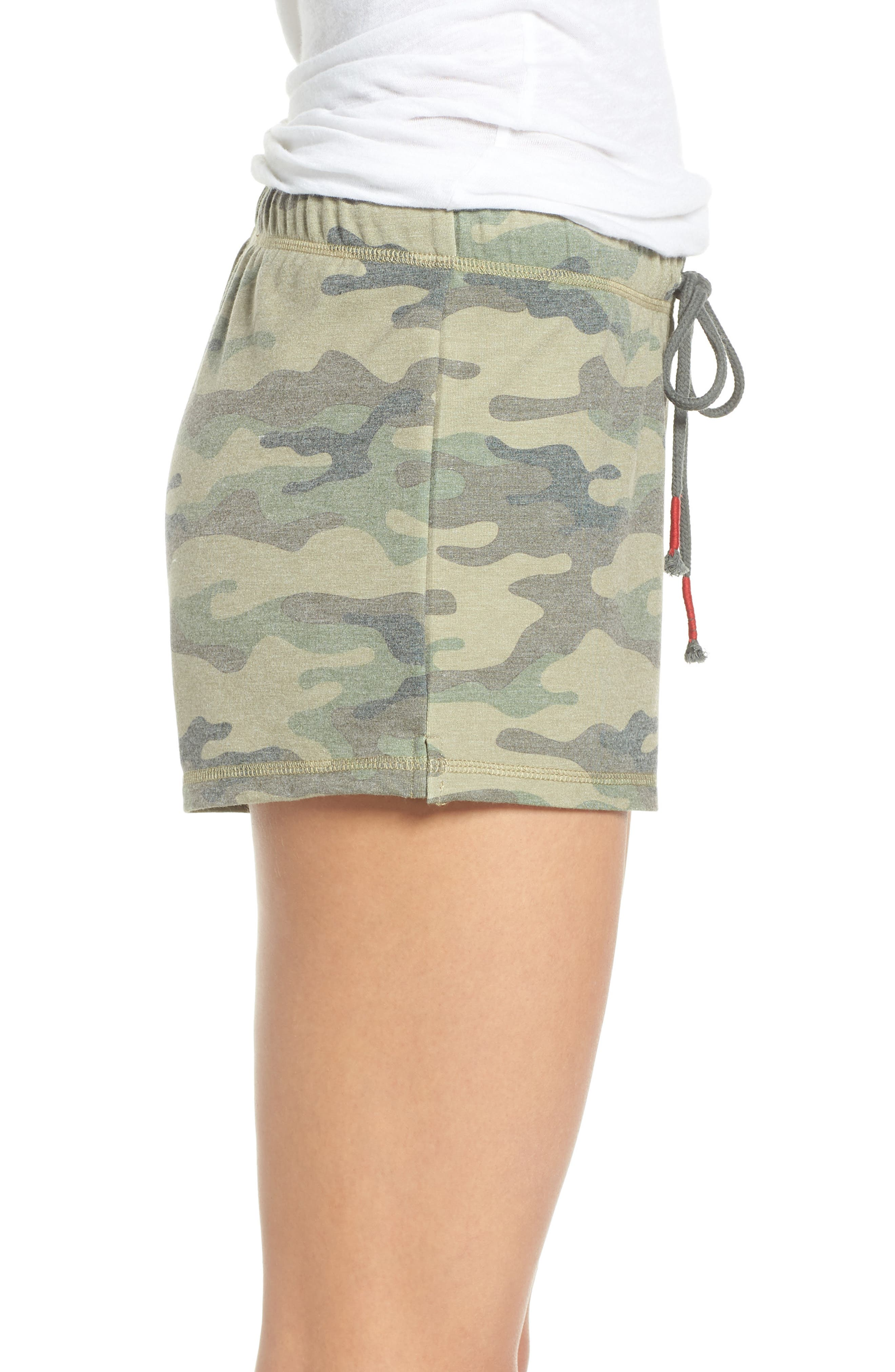 Pajama Shorts,                             Alternate thumbnail 3, color,                             OLIVE