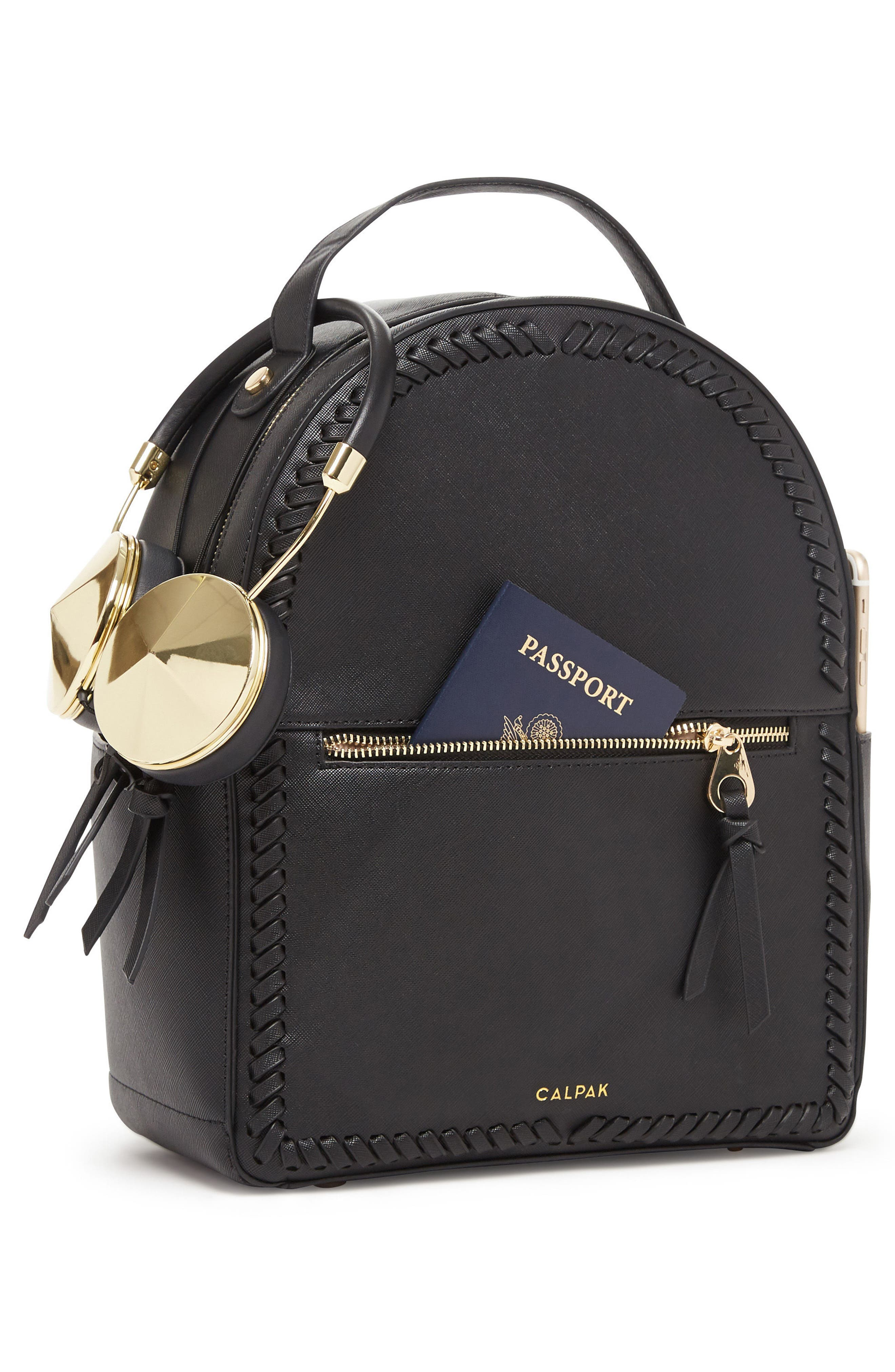 Kaya Faux Leather Round Backpack,                             Alternate thumbnail 6, color,                             BLACK