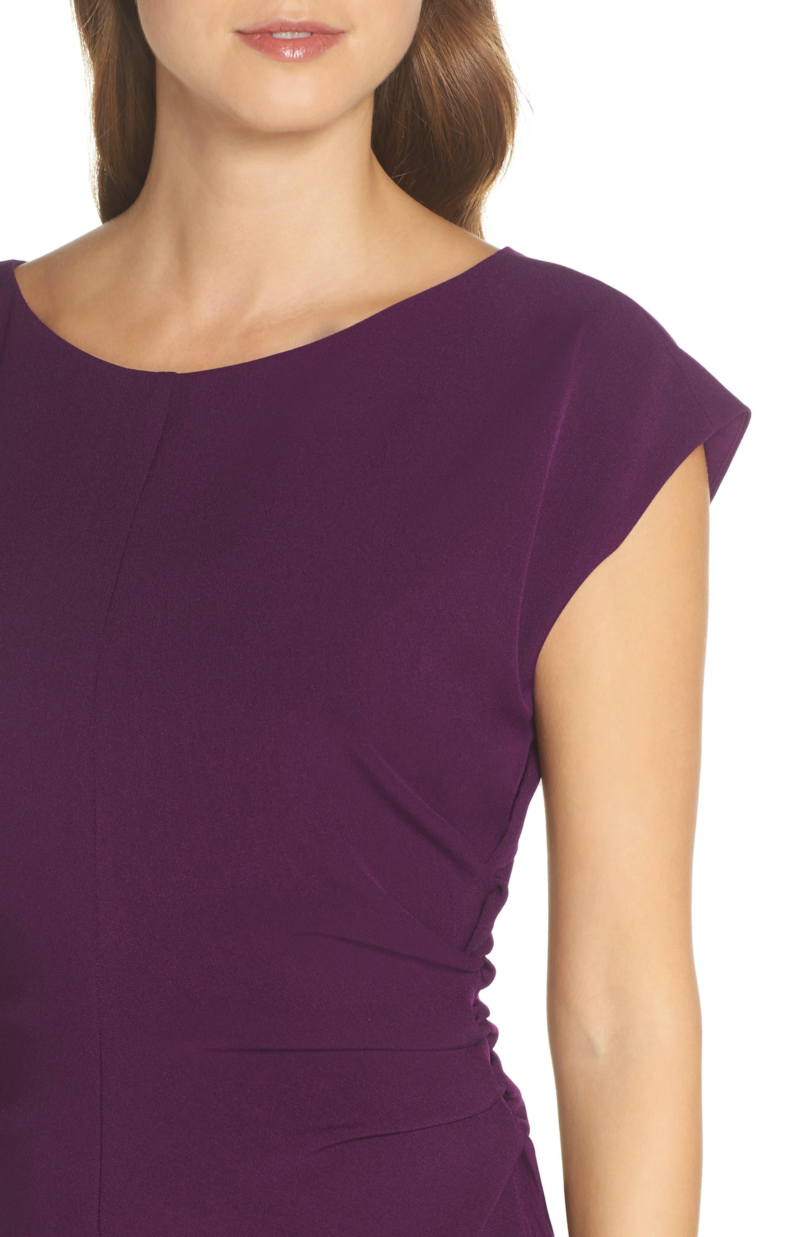 JULIA JORDAN,                             Ruched Stretch Crepe Fit & Flare Dress,                             Alternate thumbnail 4, color,                             PLUM