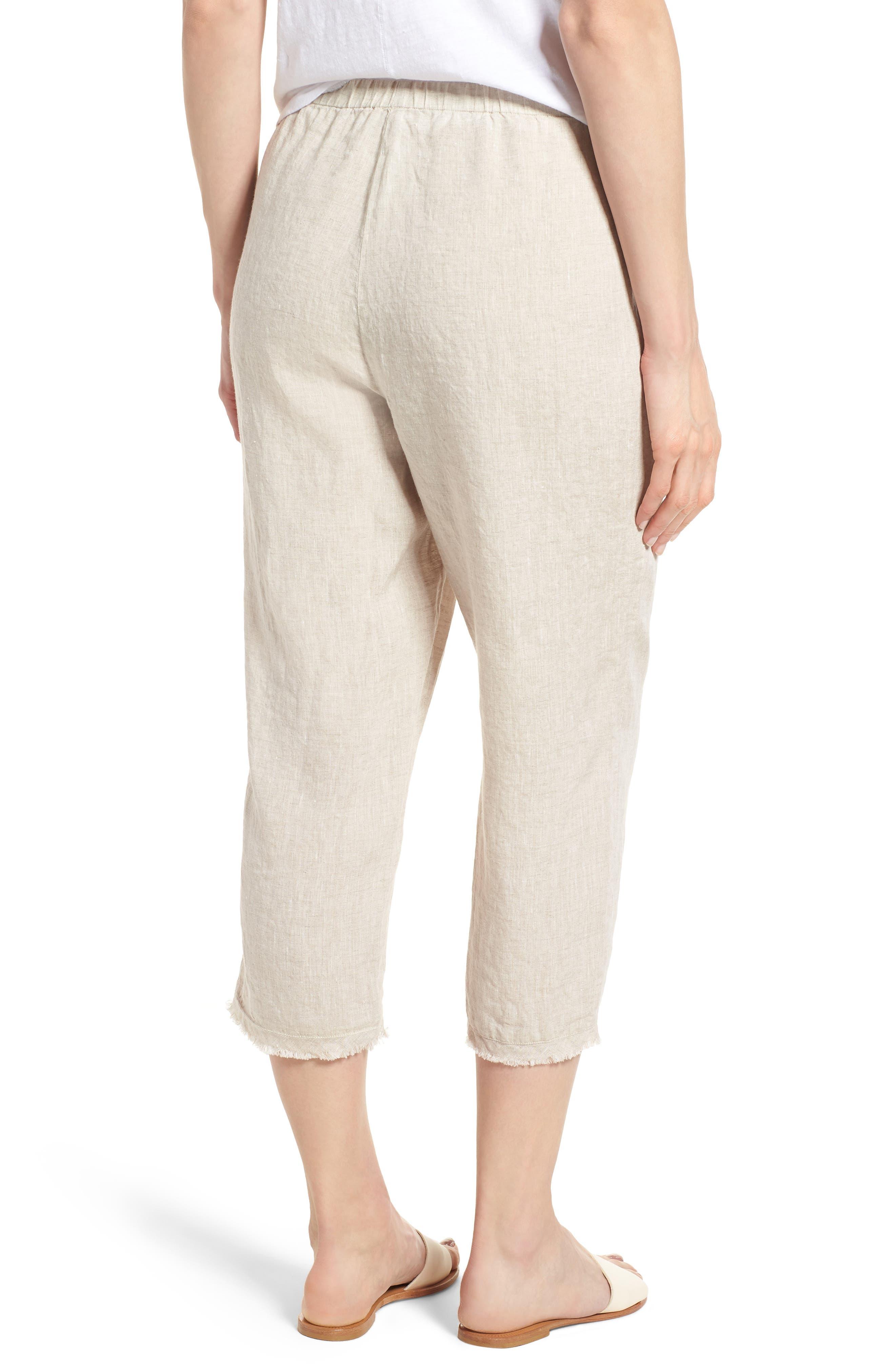 Crop Straight Leg Linen Pants,                             Alternate thumbnail 3, color,