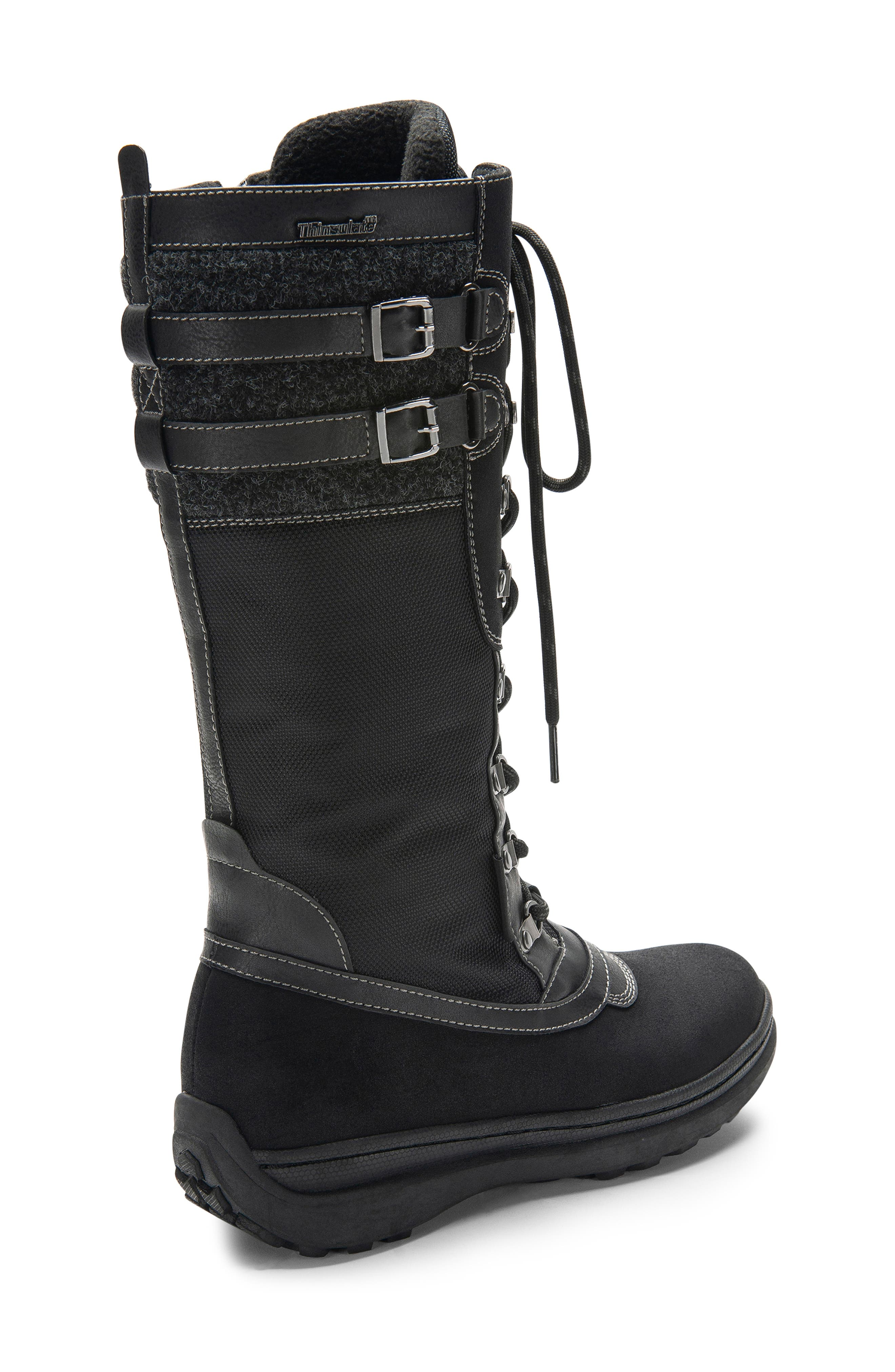 India Waterproof Snow Boot,                             Alternate thumbnail 8, color,                             BLACK LEATHER