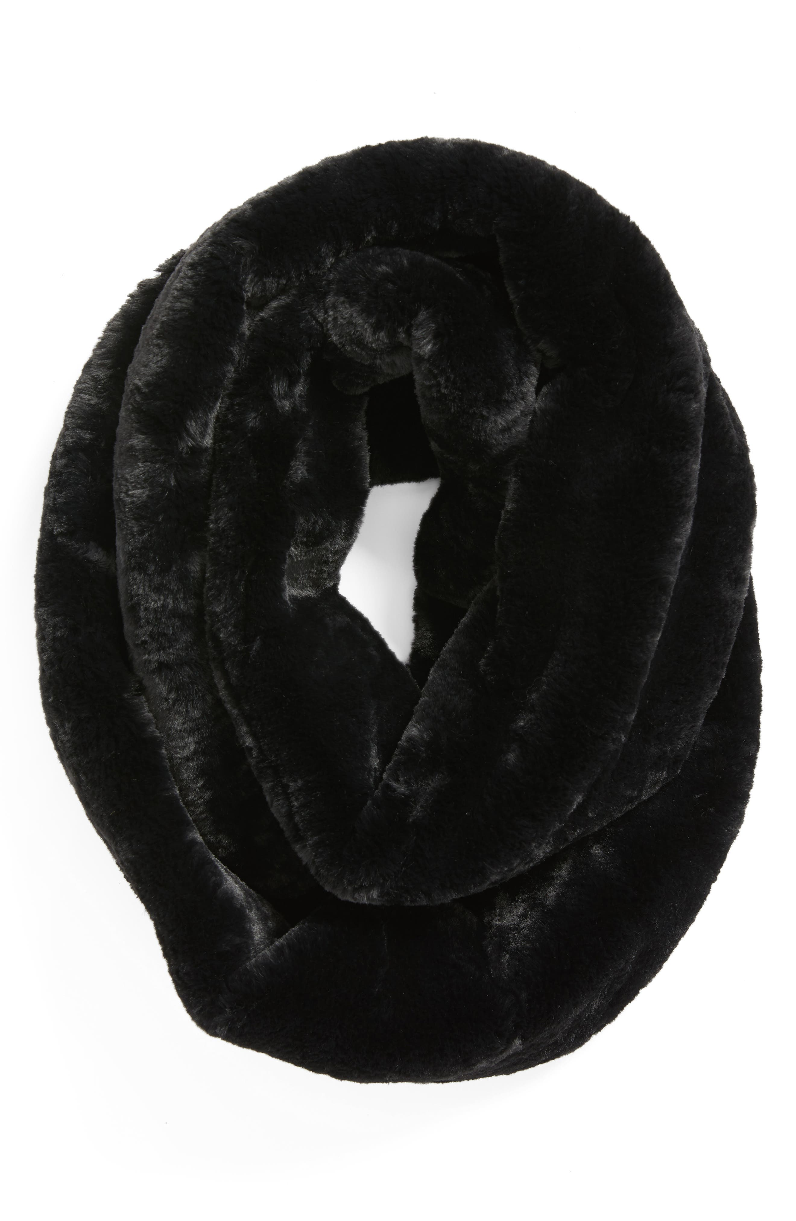 Faux Fur Infinity Scarf,                             Alternate thumbnail 2, color,                             001