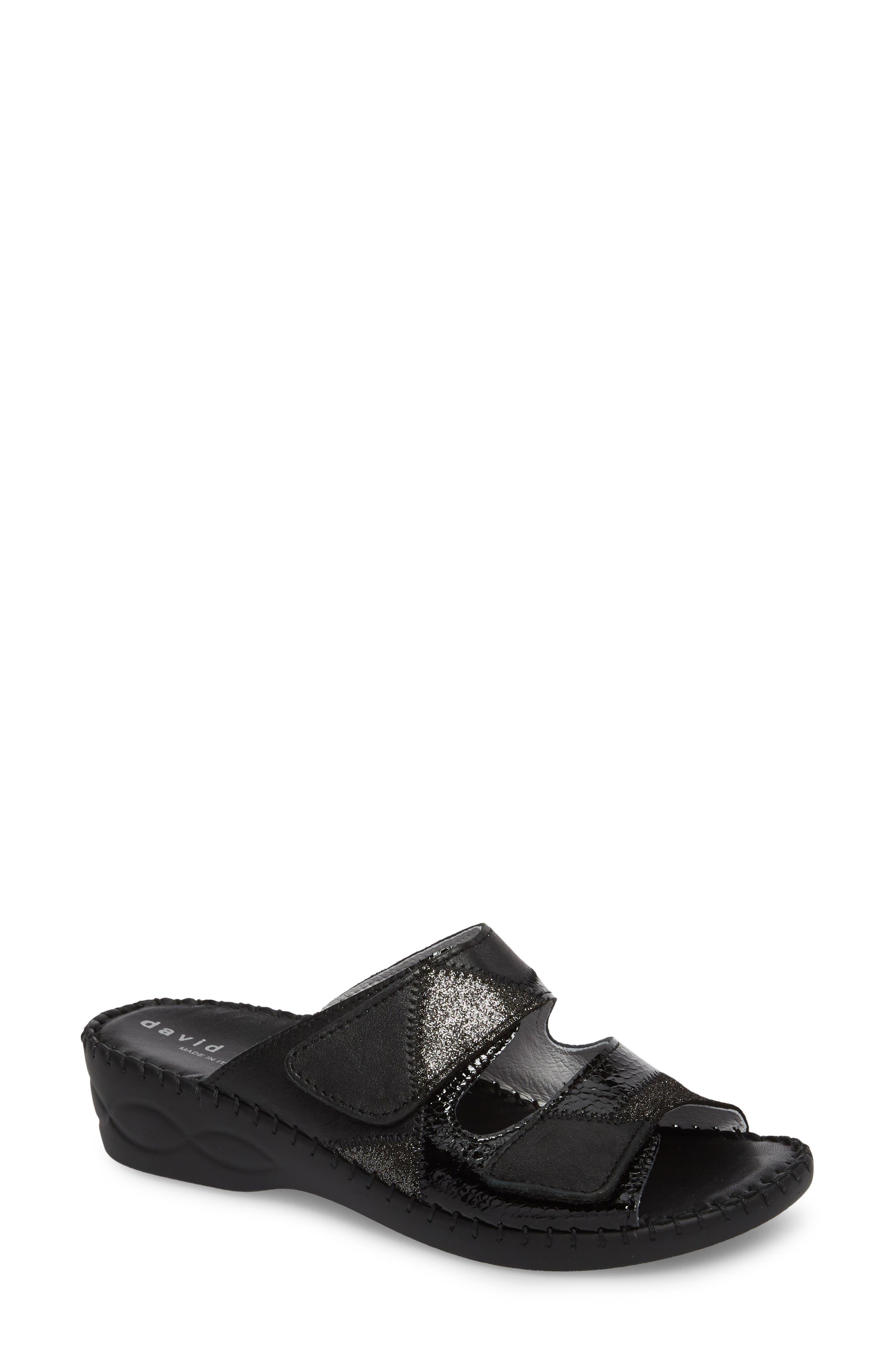 DAVID TATE,                             Flex Slide Sandal,                             Main thumbnail 1, color,                             BLACK LEATHER