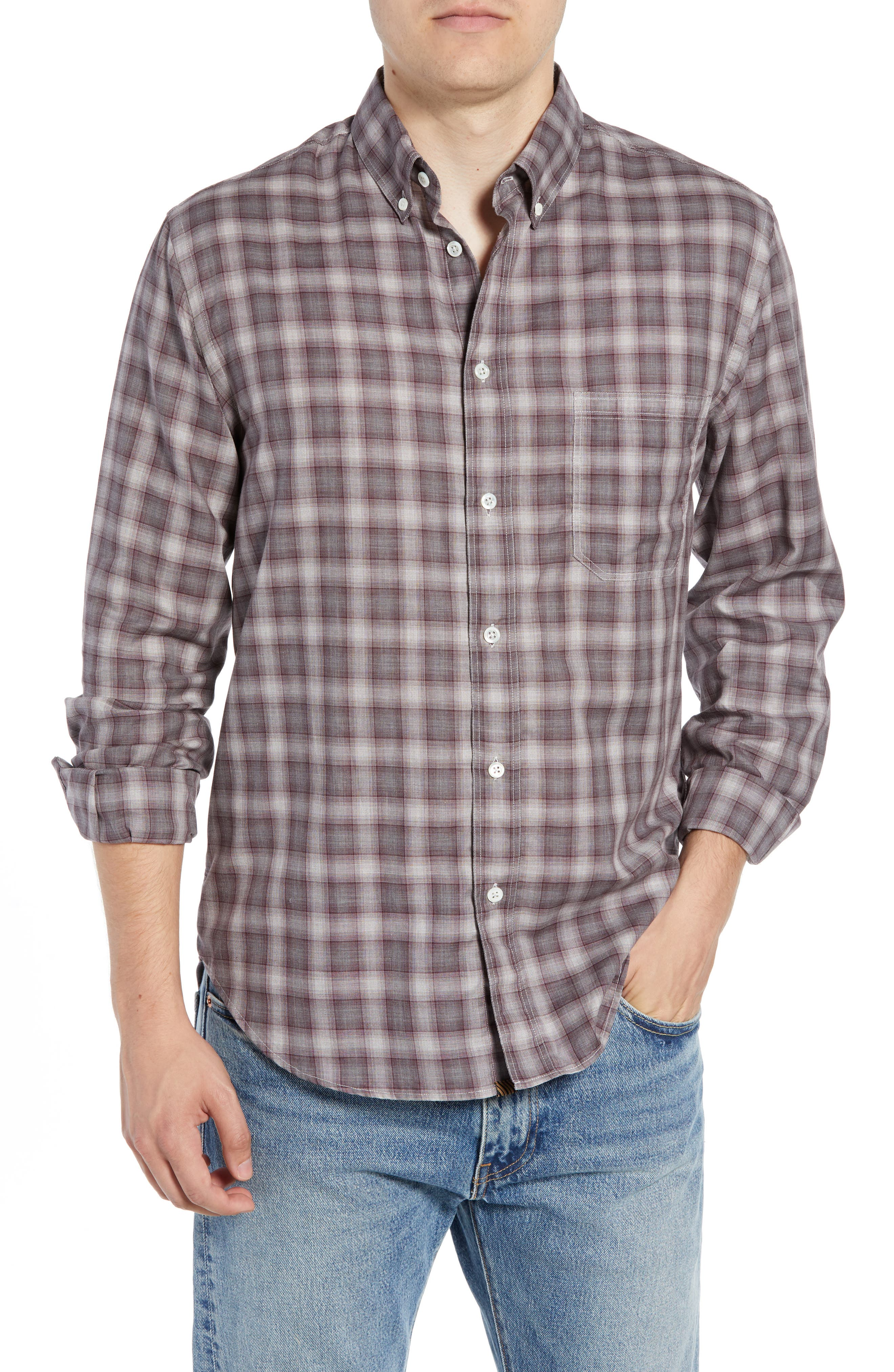 Tuscumbia Regular Fit Plaid Sport Shirt, Main, color, 930
