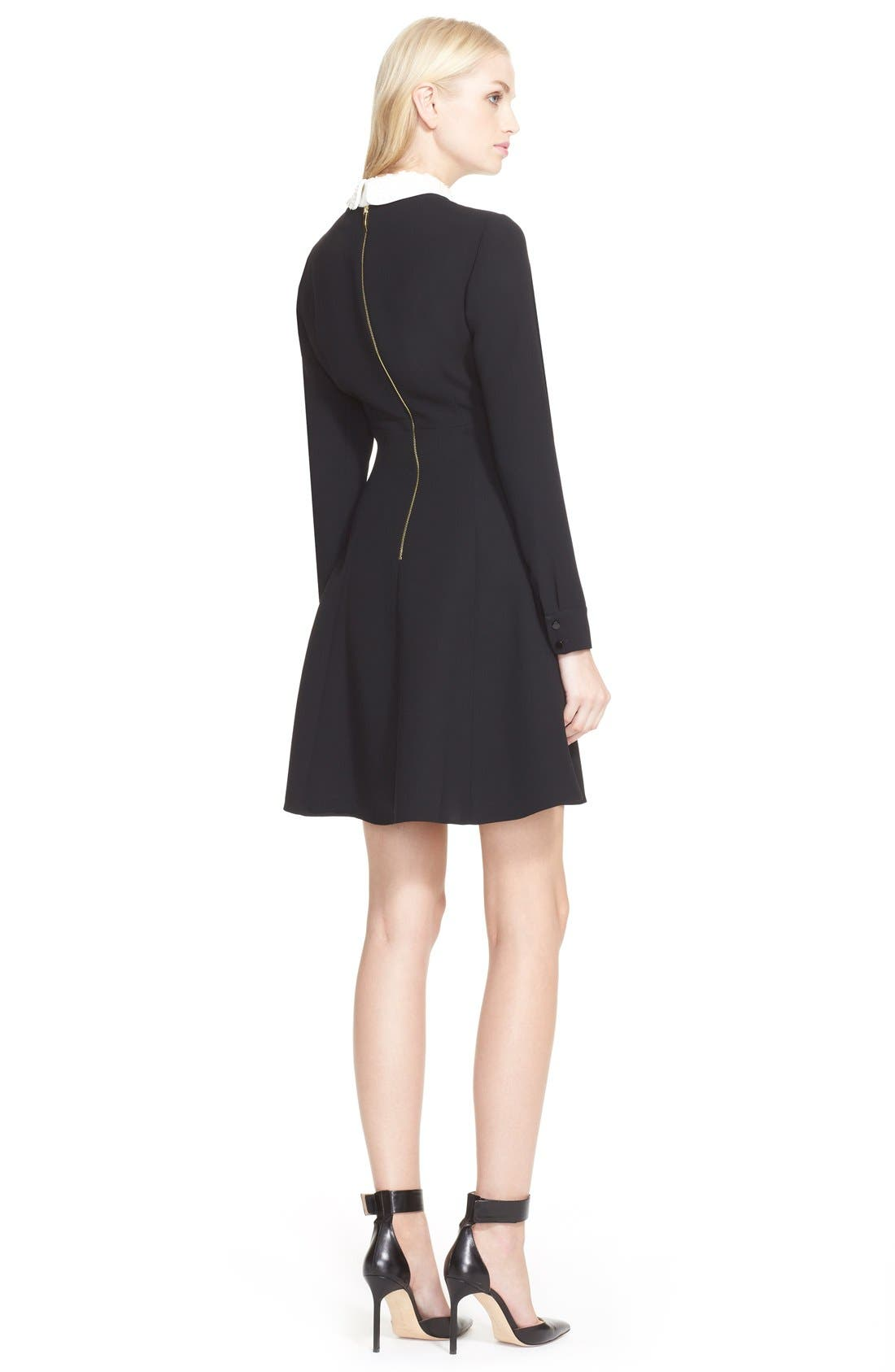 kate spade new york long sleeve sequin collar dress,                             Alternate thumbnail 3, color,                             001