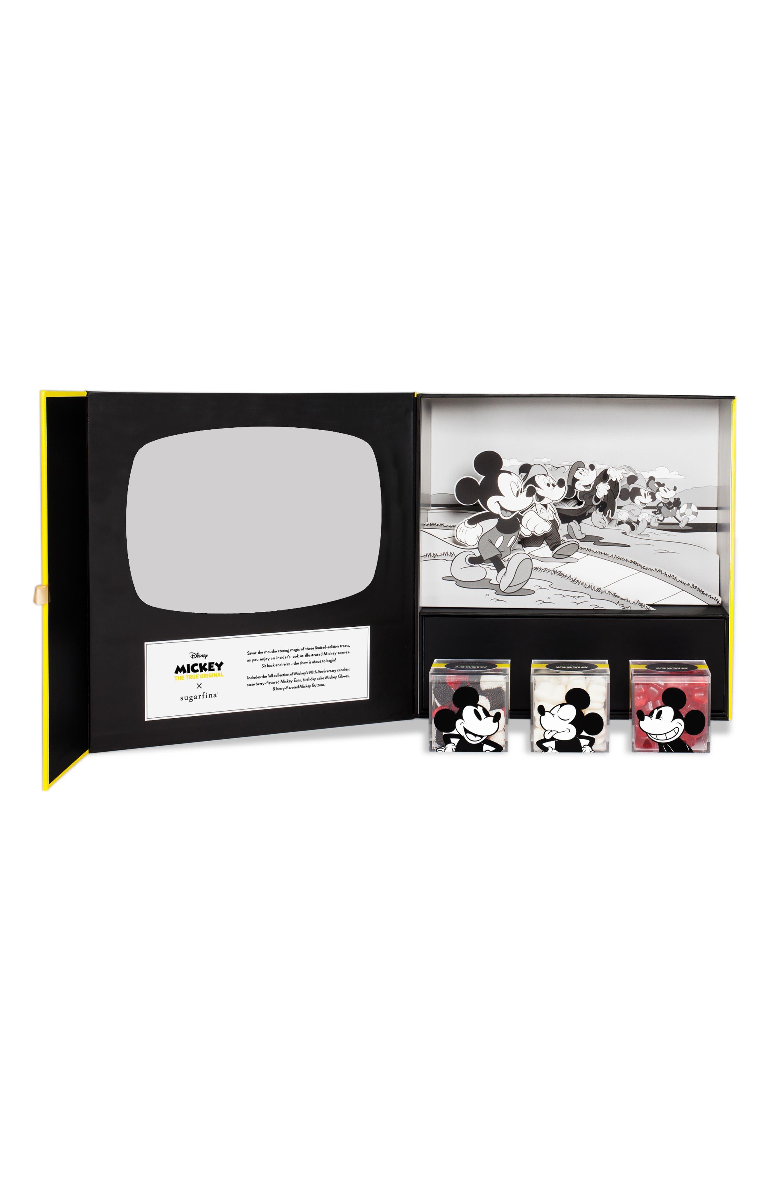 SUGARFINA Mickey through the Decades 3-Piece Candy Bento Box, Main, color, BLACK