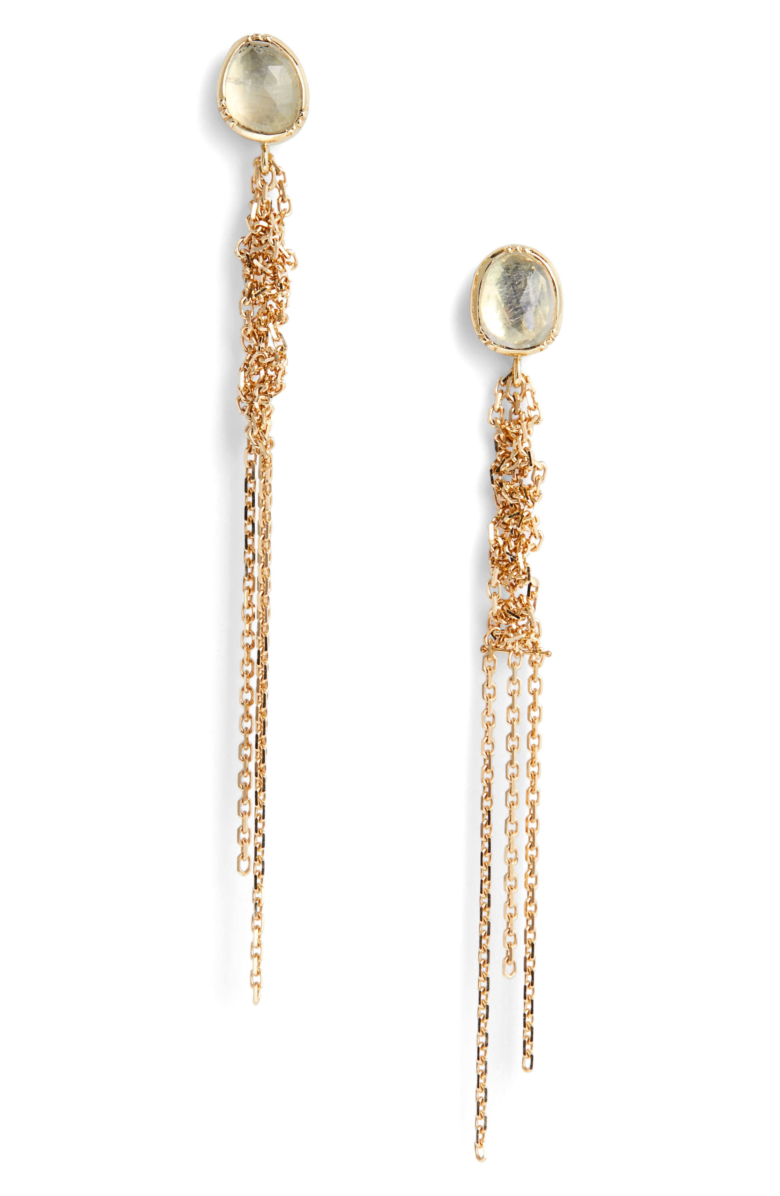 Waterfall Moonstone Earrings,                         Main,                         color, GOLD