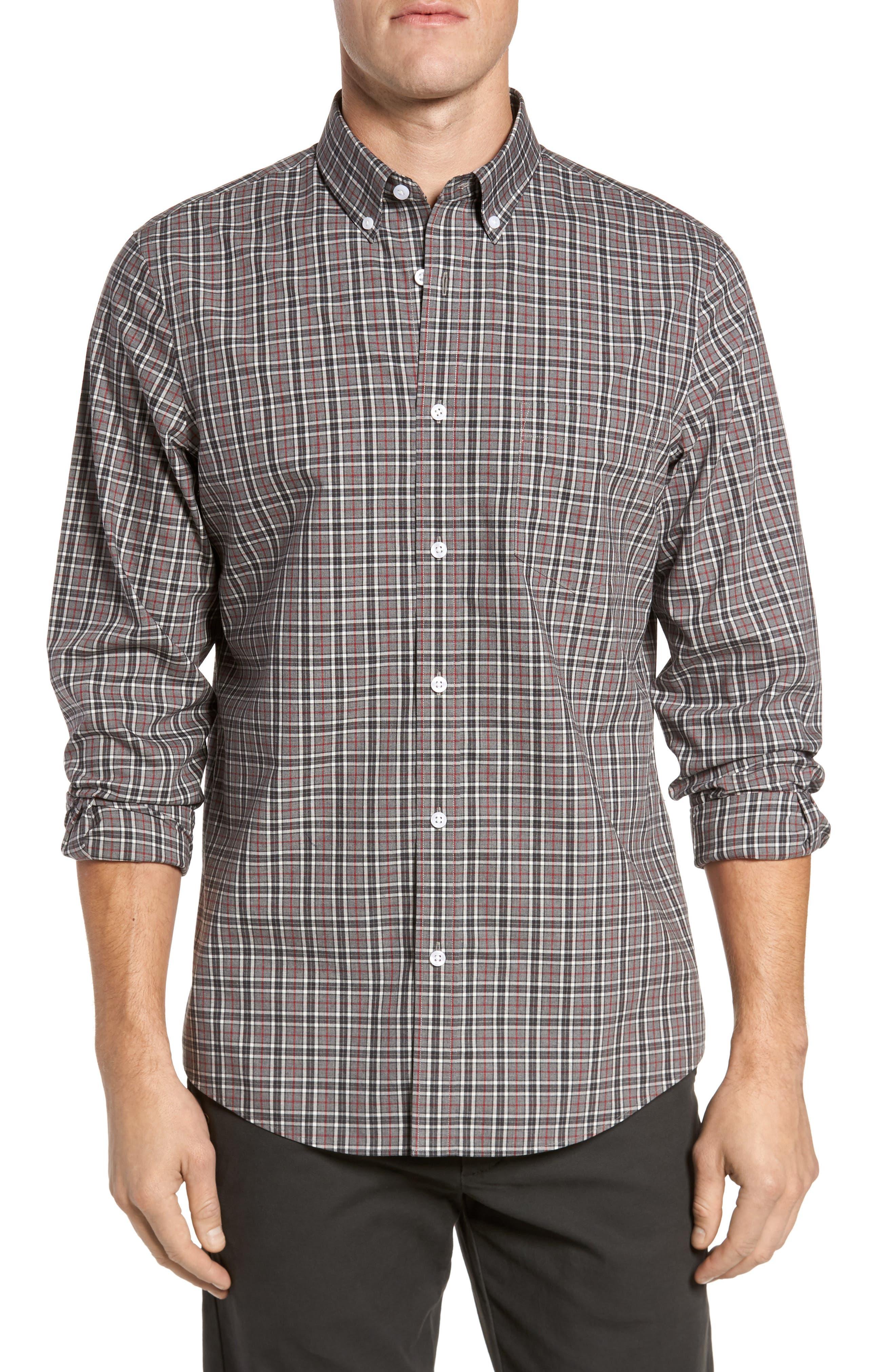 Smartcare<sup>™</sup> Regular Fit Plaid Sport Shirt,                             Main thumbnail 1, color,                             030