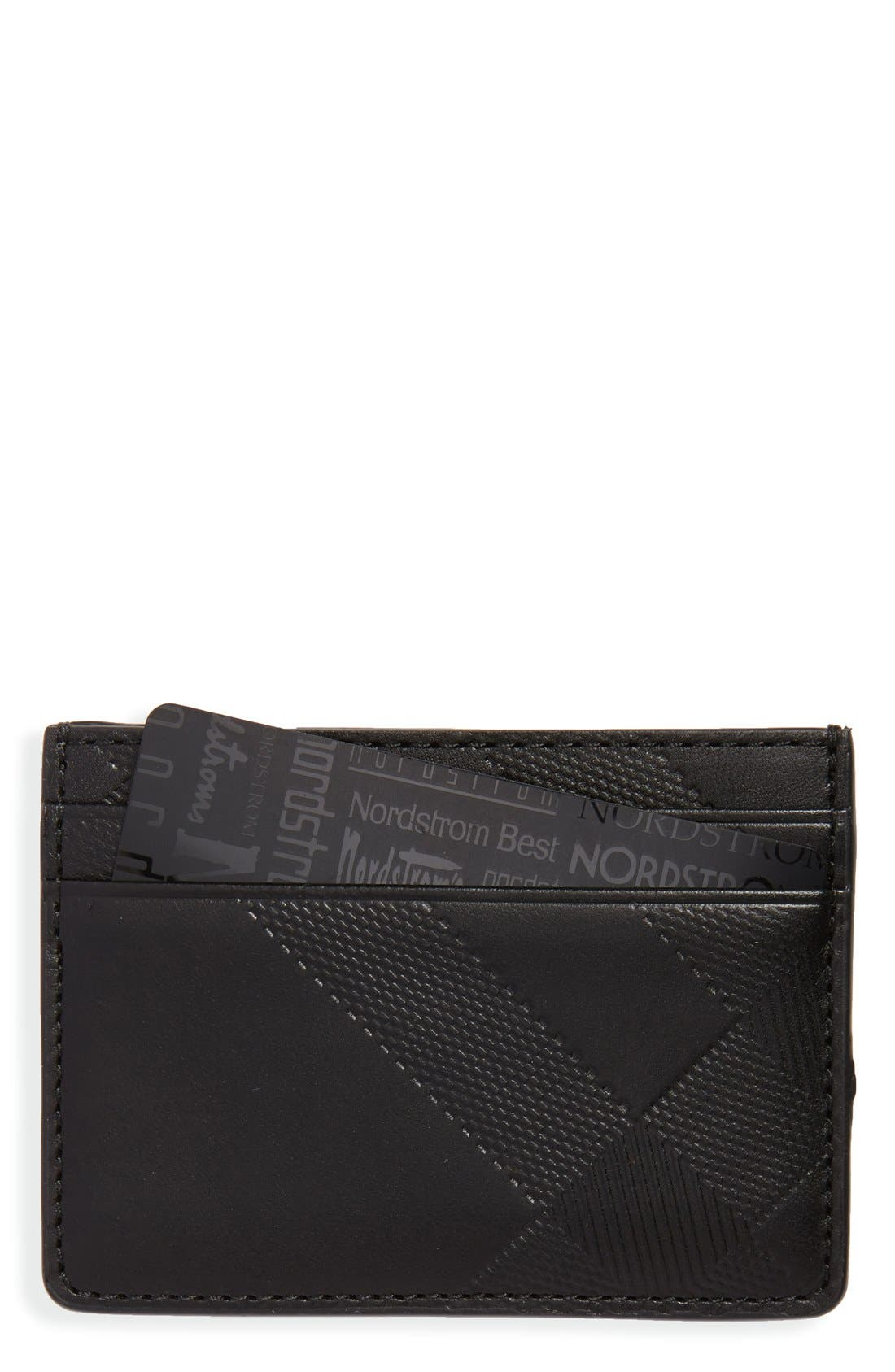 Embossed Check Card Case,                         Main,                         color, 001