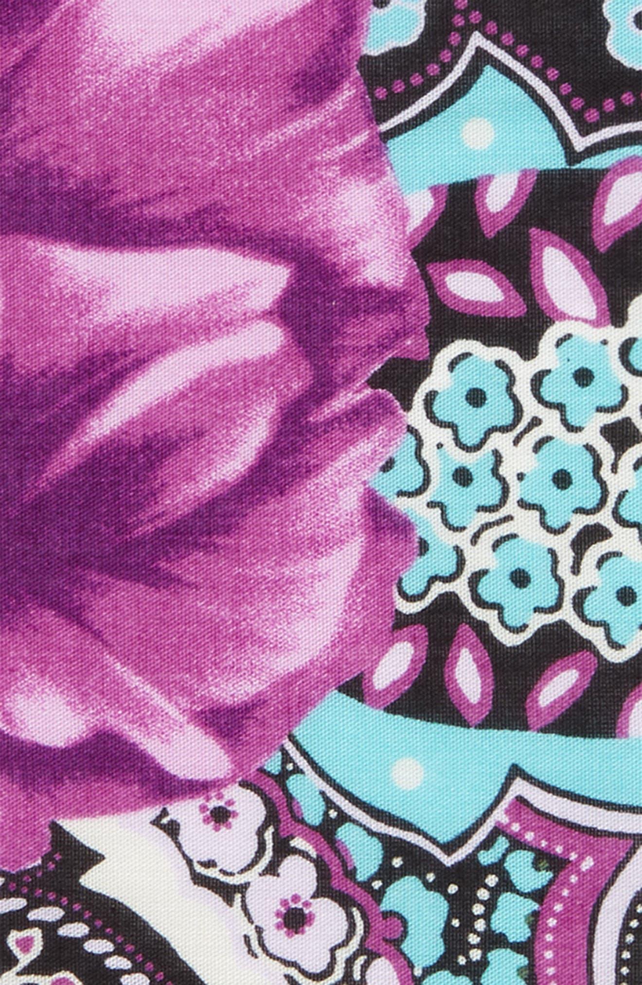 Purple Rose Cotton Pocket Square,                             Alternate thumbnail 3, color,                             500