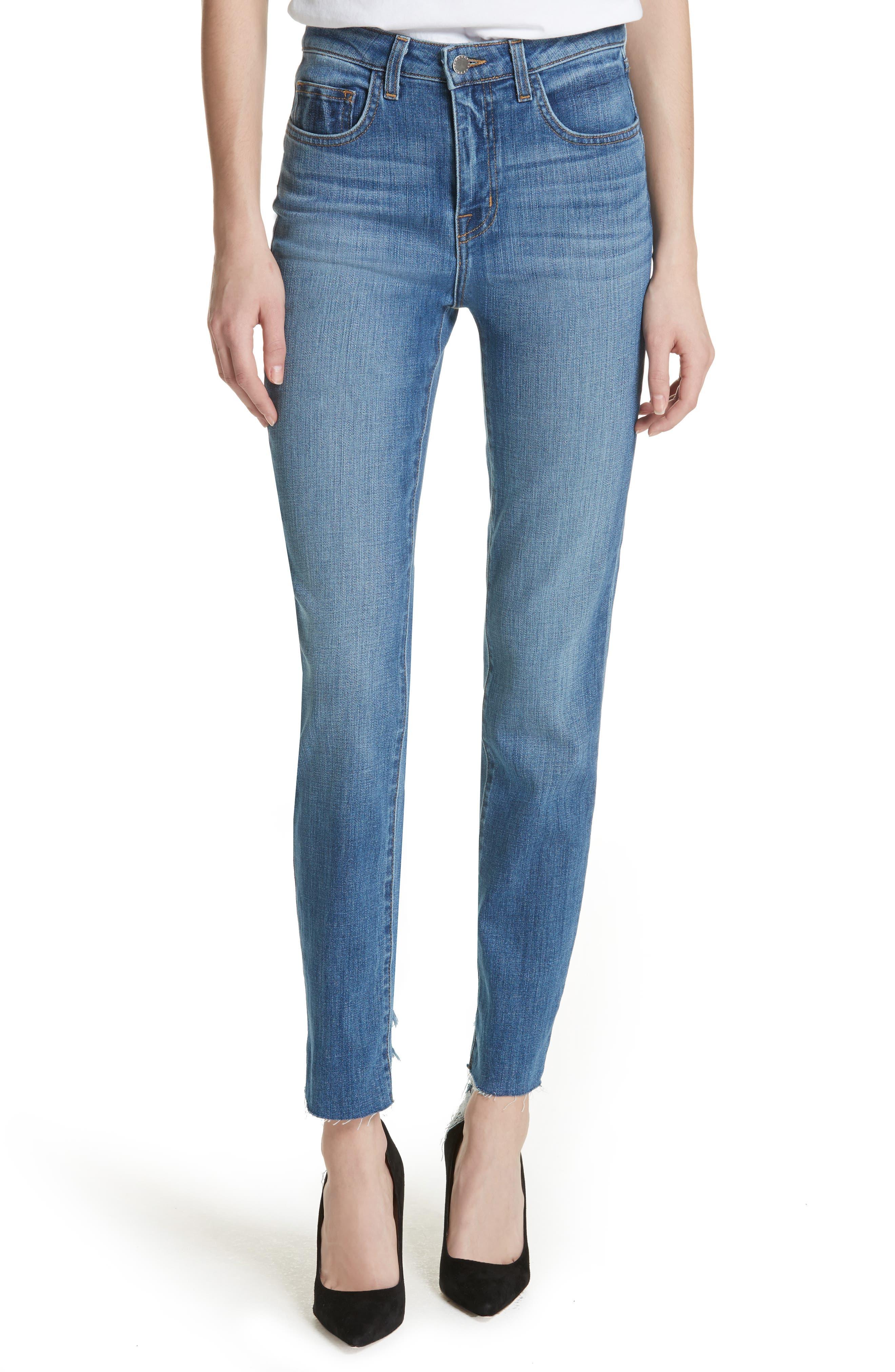 Lorelei High Waist Slim Straight Jeans,                             Main thumbnail 1, color,                             450
