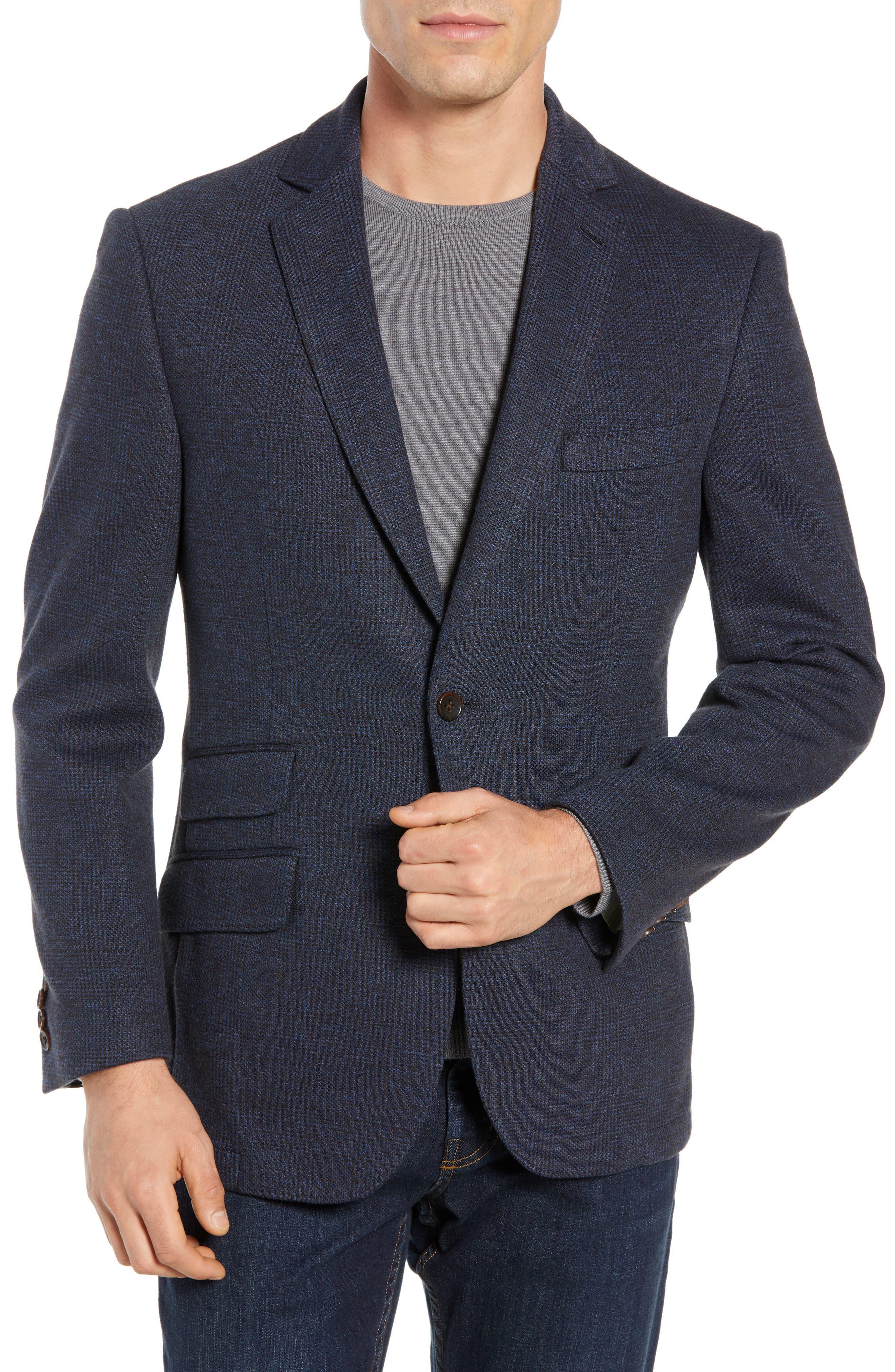 Regular Fit Knit Sport Coat,                         Main,                         color, BROWN